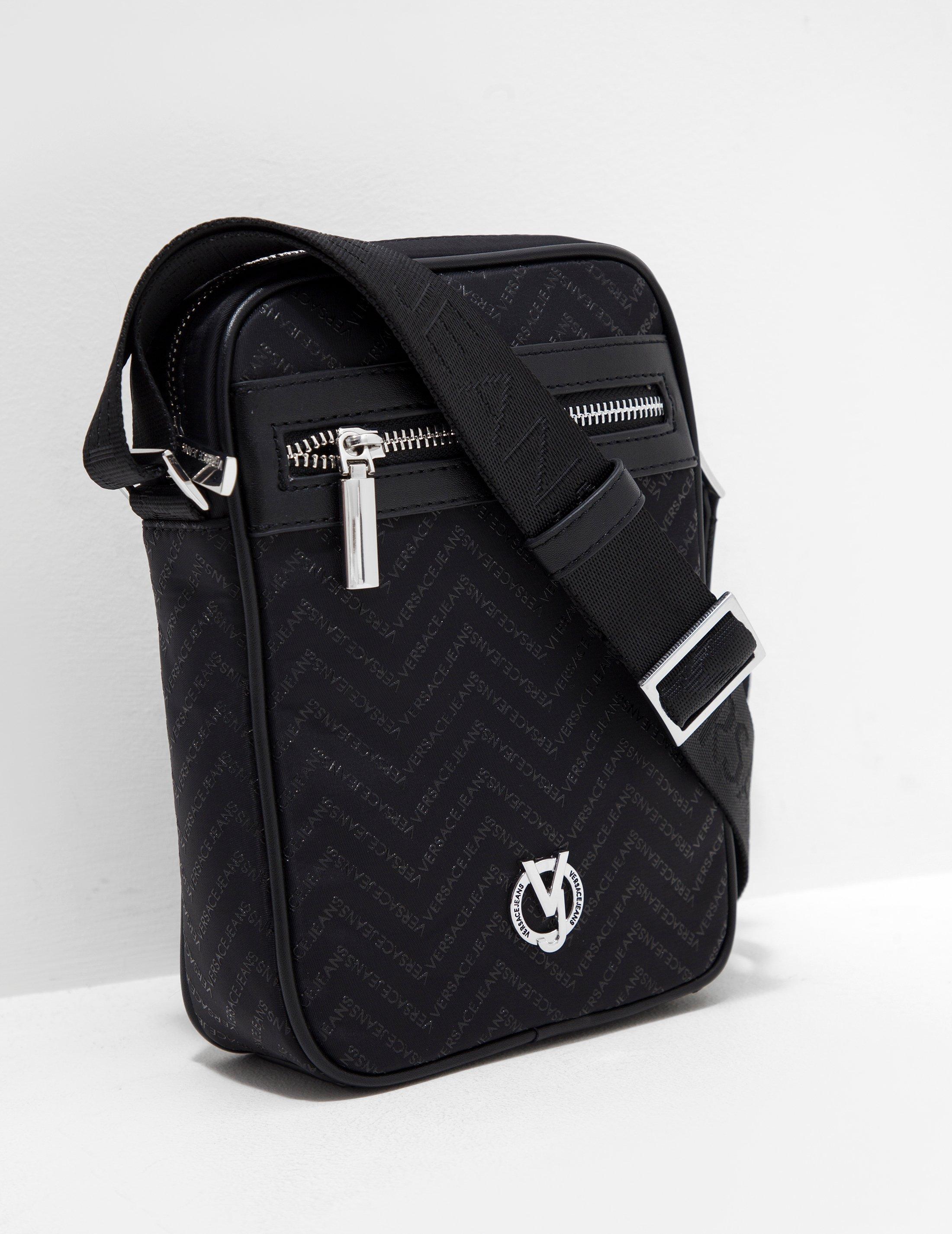 Versace Jeans Chevron Monogram Crossbody Bag in Black for Men - Lyst 944c3c57d3da0