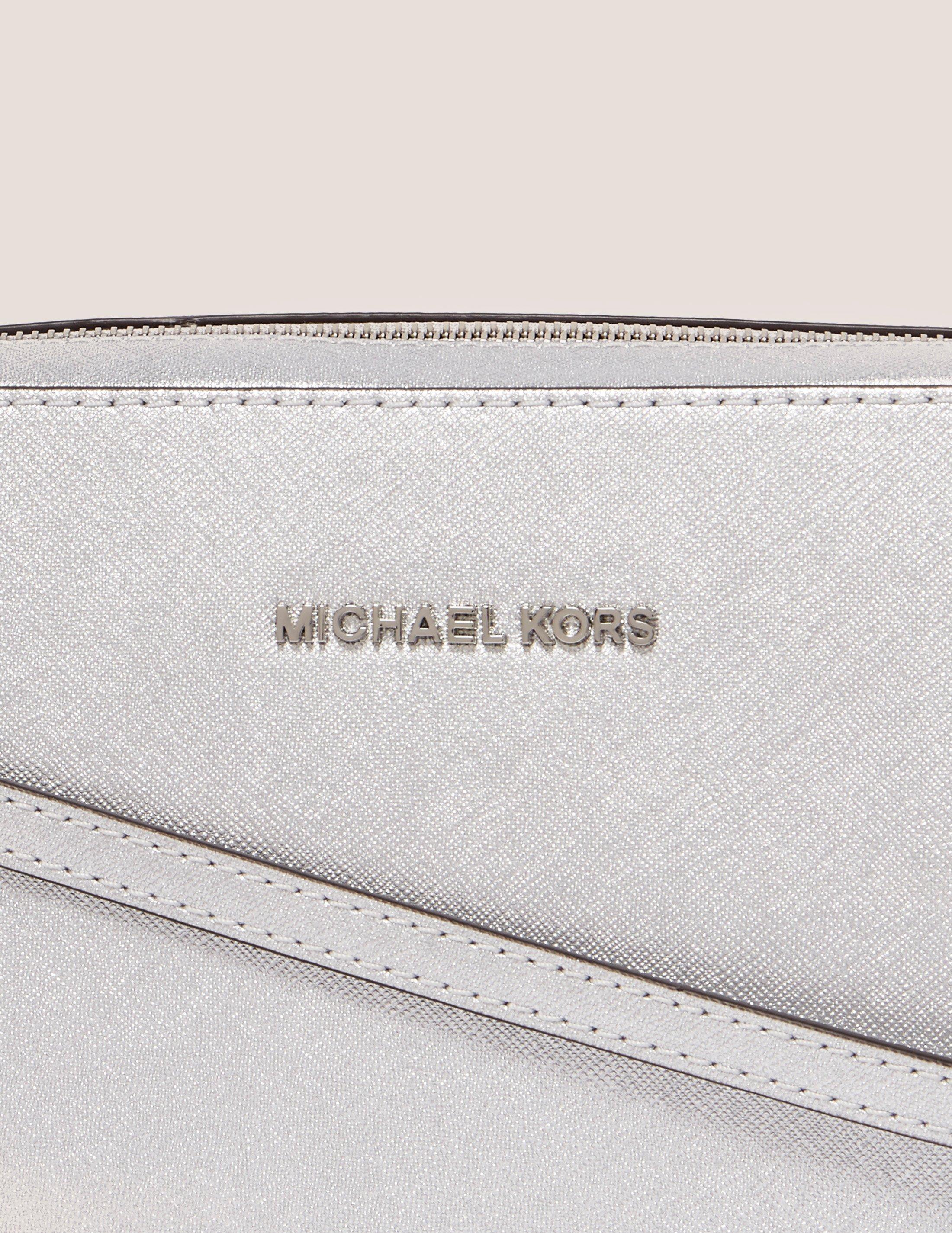 Michael Kors Leather Jet Set Large Crossbody Bag Silver in Metallic