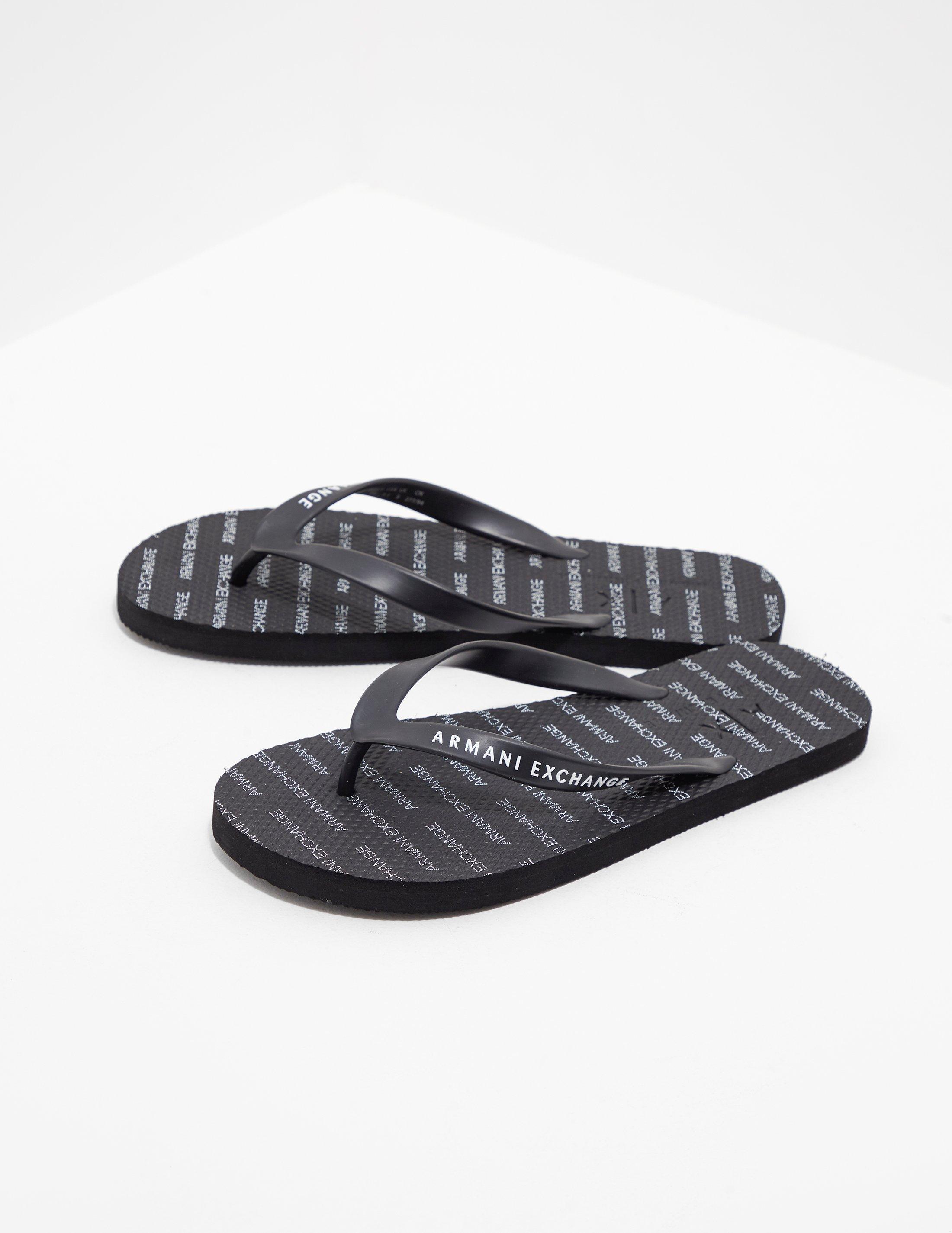 4fab46a63c99 Armani Exchange Beach Flip Flops Black in Black for Men - Lyst