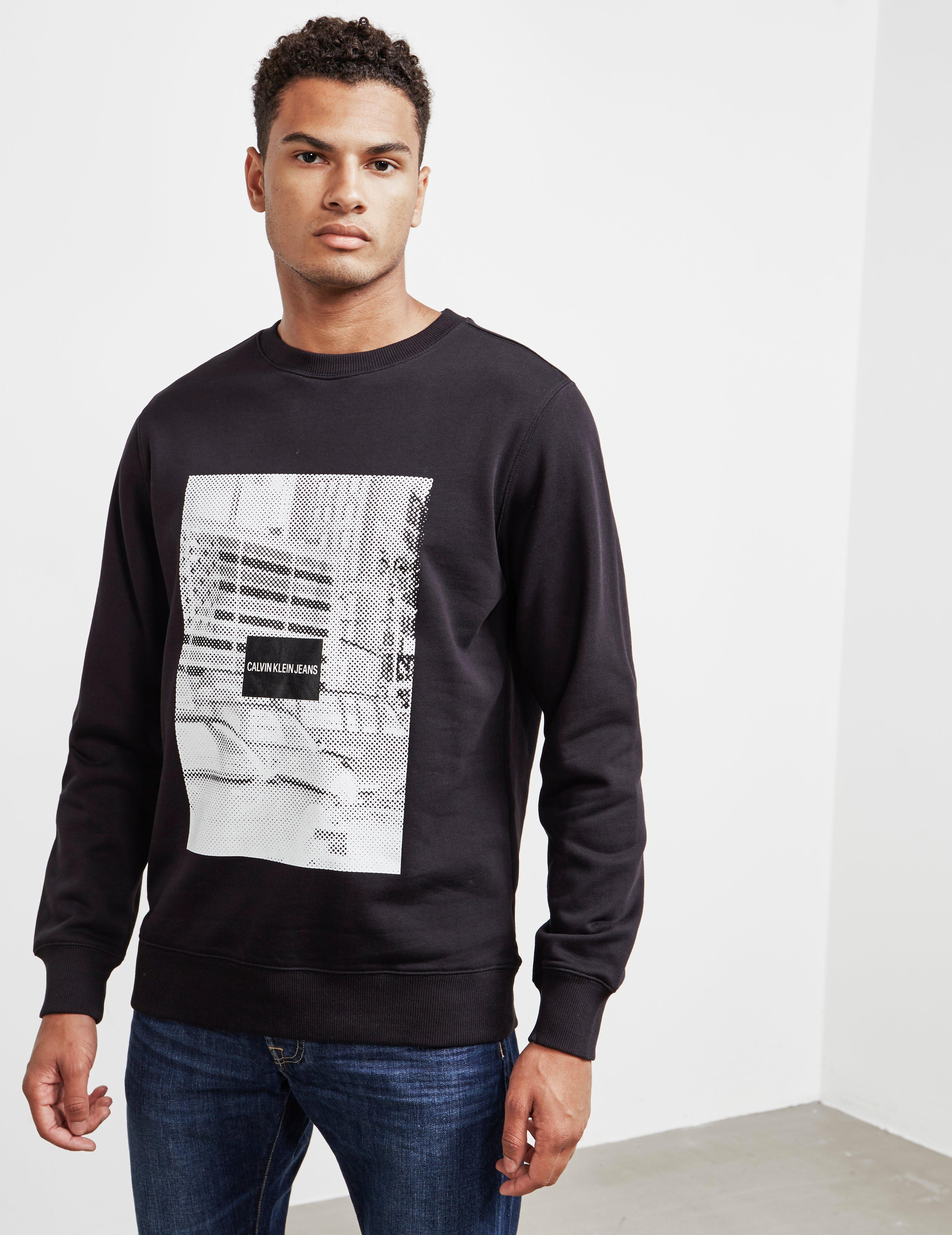 16d7022de74f Calvin Klein Mens Pixel Graphic Crew Sweatshirt Black in Black for ...
