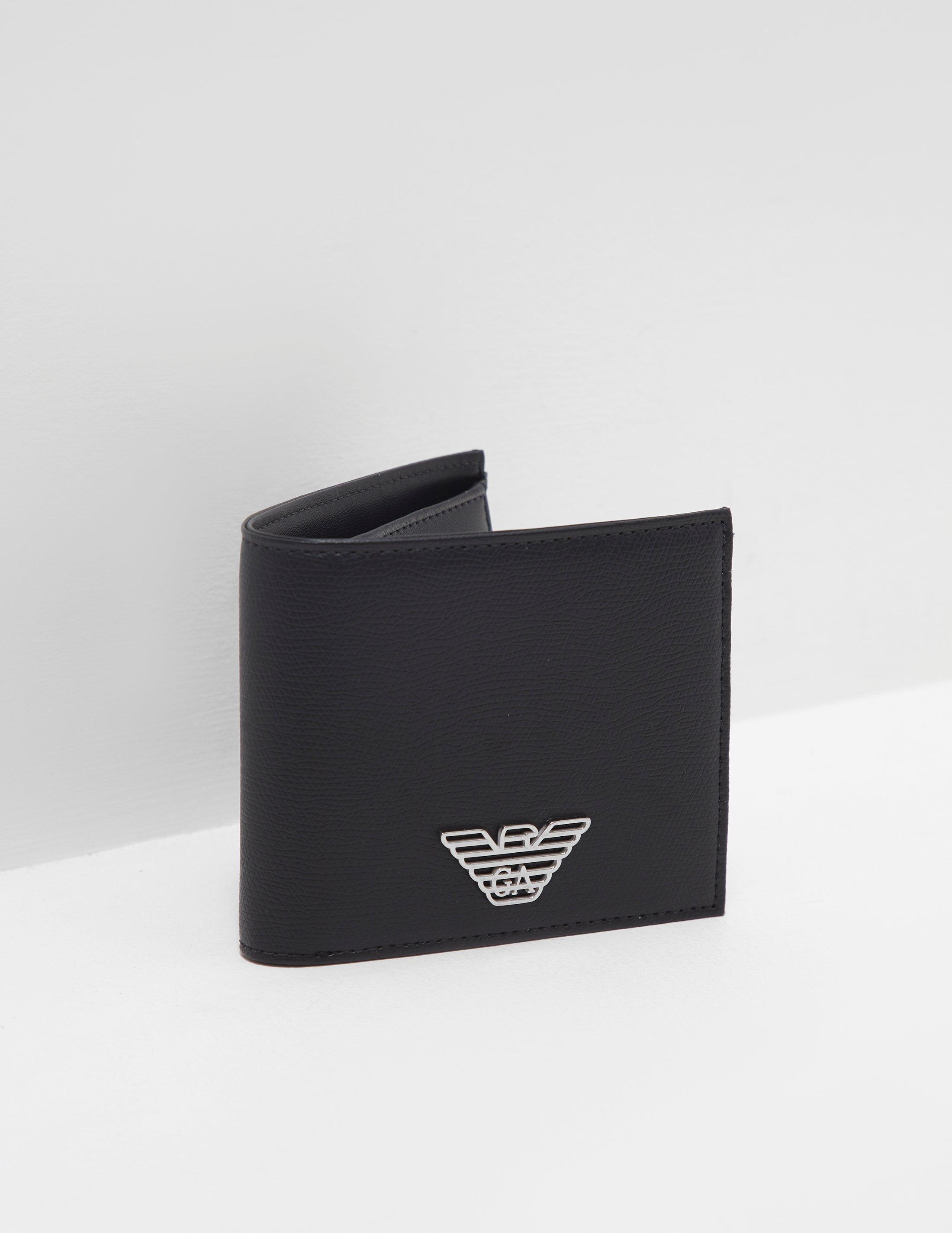 Lyst - Emporio Armani Mens Metal Logo Wallet Black in Black for Men dcfd6c833c
