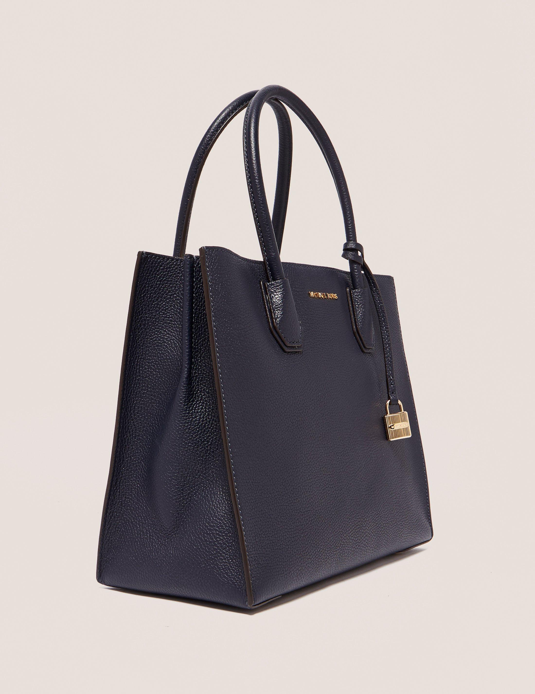 Michael Kors Leather Womens Mercer Large Convertible Tote Bag Navy in Blue