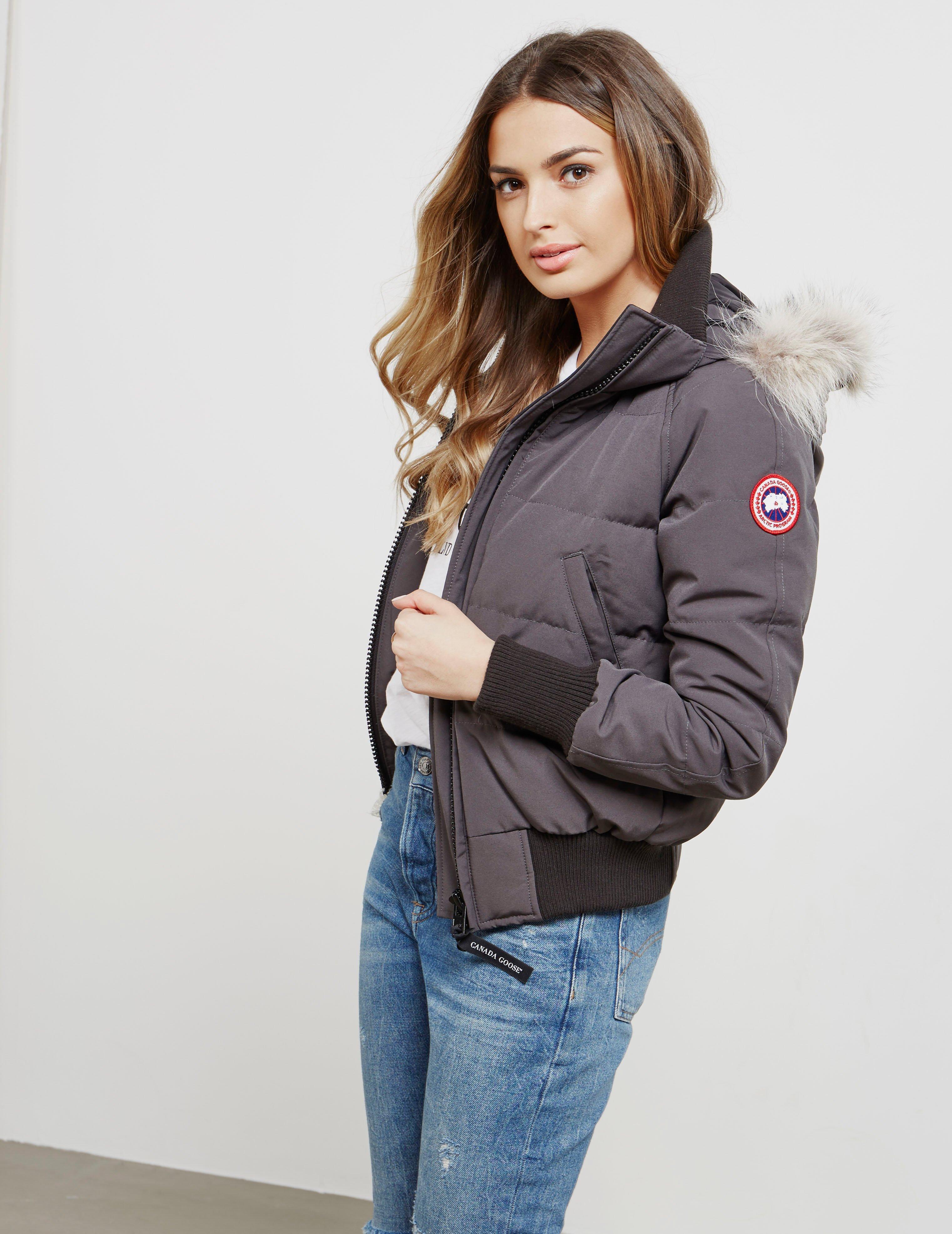 8b2e7ad2c Canada Goose Gray Womens Savona Padded Bomber Jacket Grey
