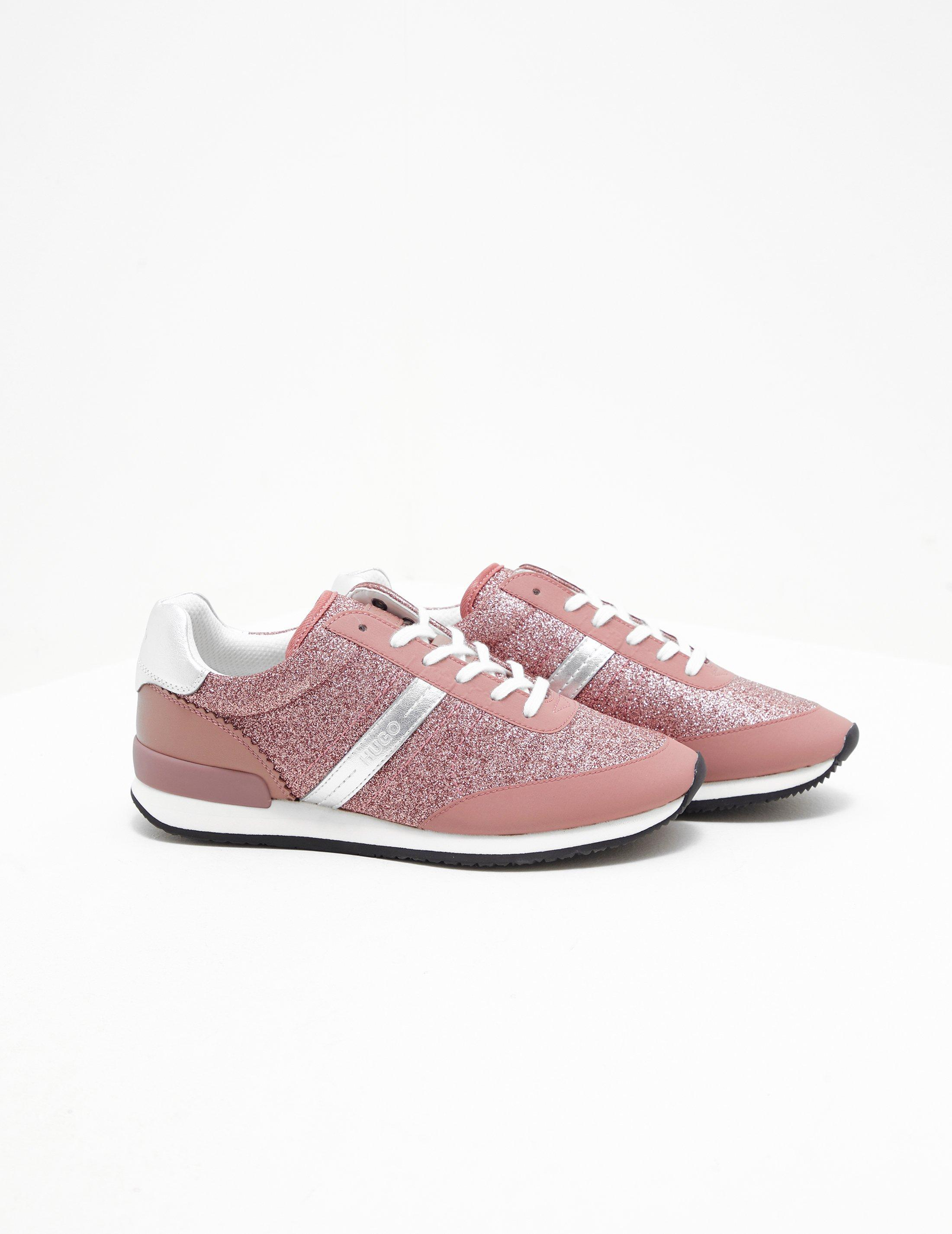 HUGO Leather Adrienne Trainers Pink - Lyst