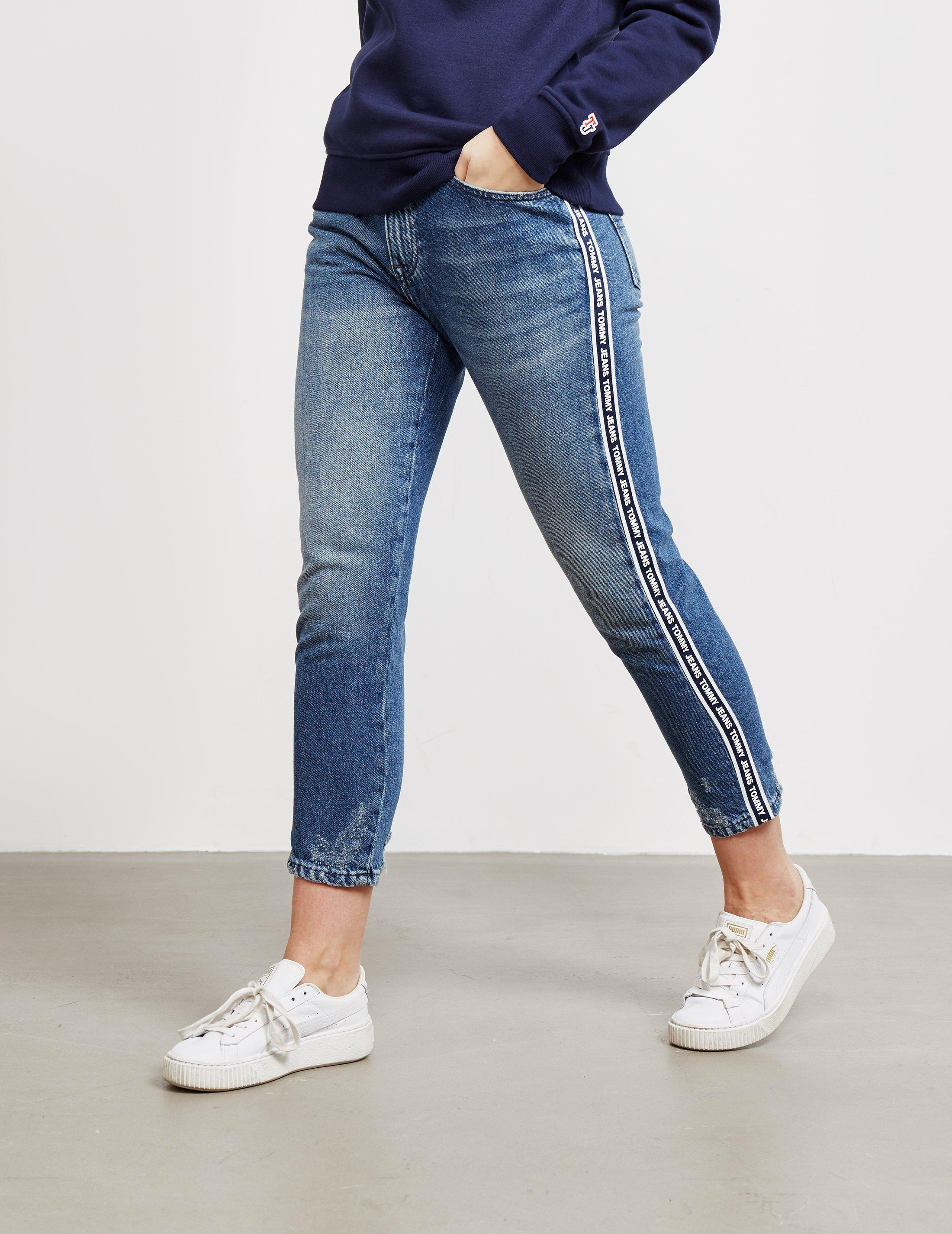 e3103622 Tommy Hilfiger Womens Izzy Tape Cropped Jeans Blue in Blue - Lyst