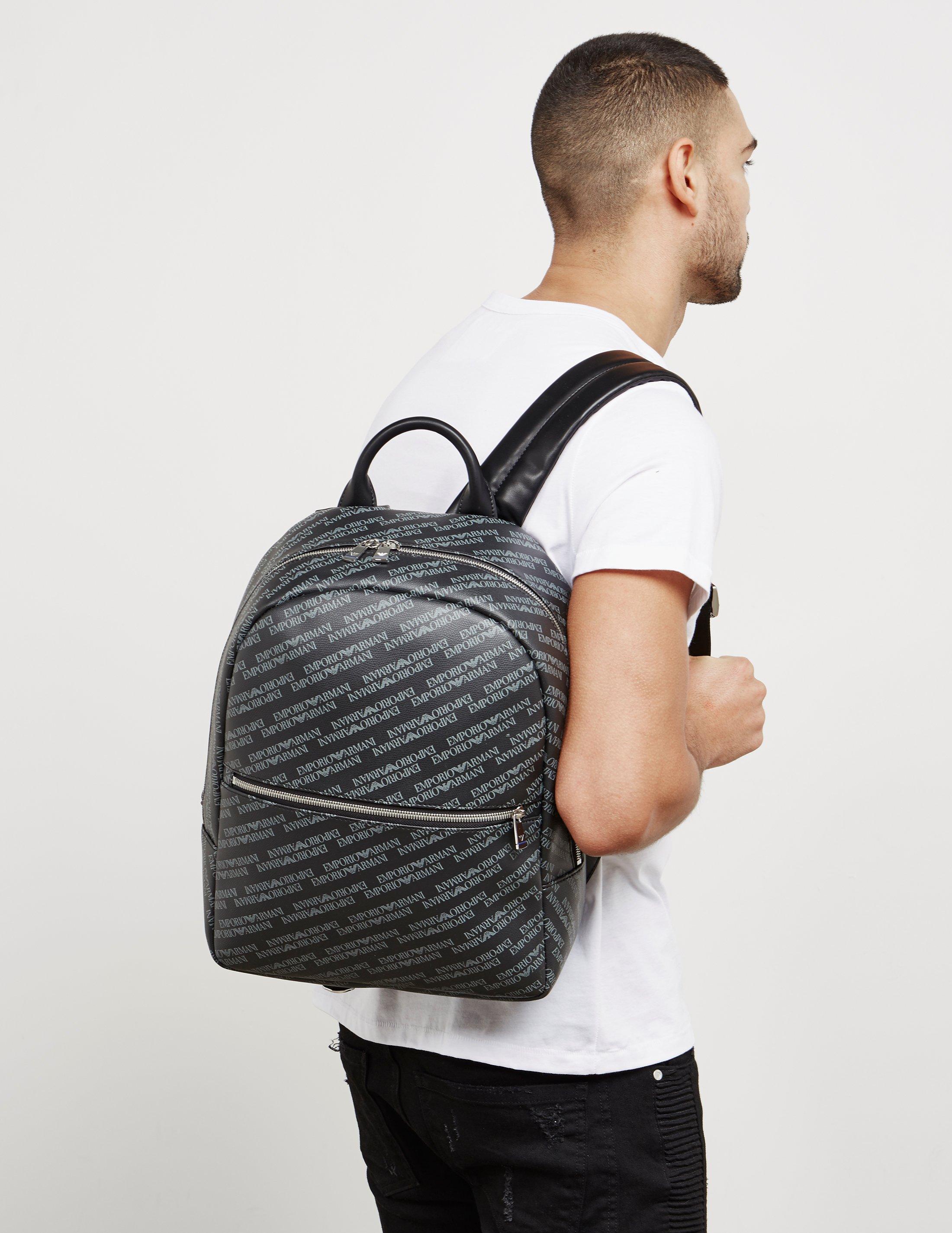 Lyst - Emporio Armani Mens All Over Print Backpack Black in Black ... ad44de4da63f9