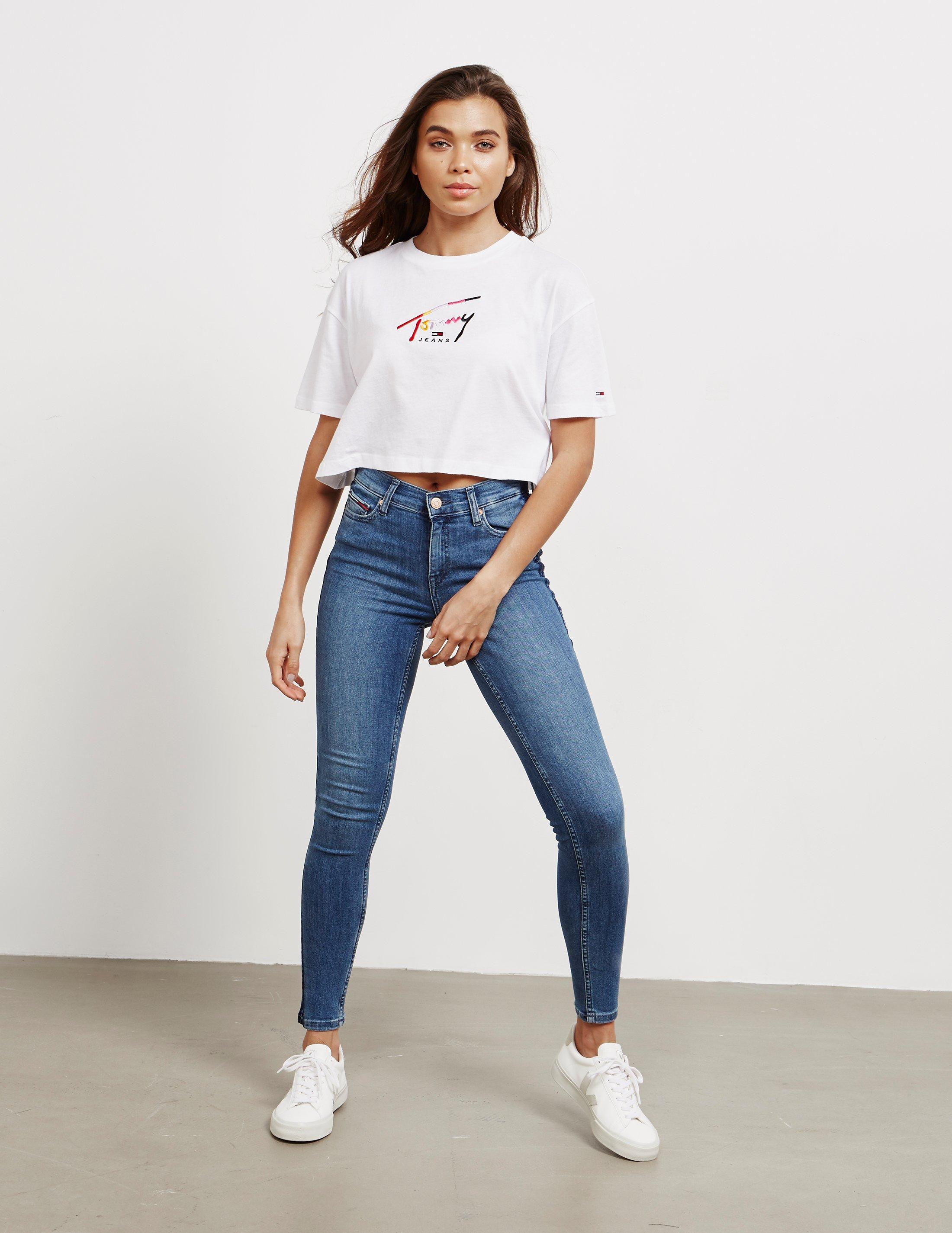 6e091224 Lyst - Tommy Hilfiger Tommy Crop Short Sleeve T-shirt White in White