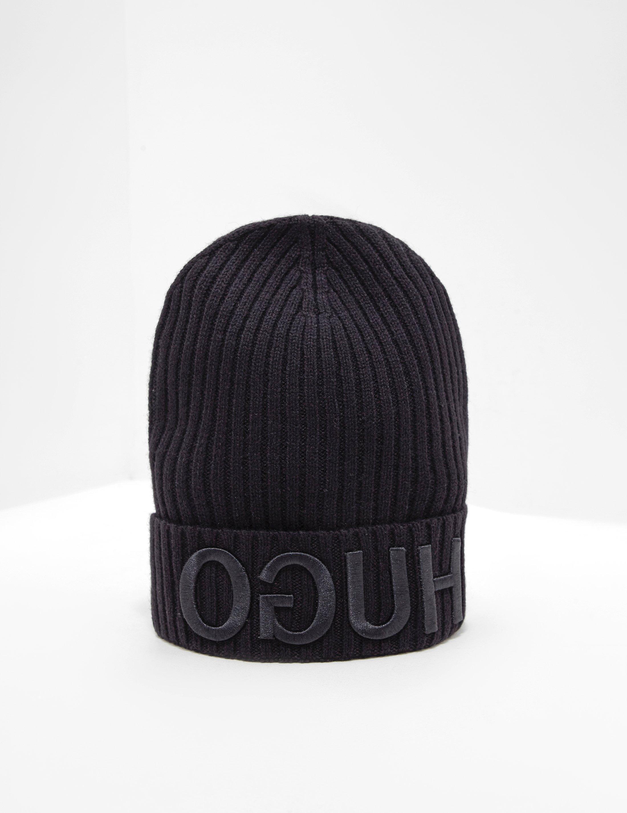 905c26a98ac HUGO Reverse Logo Beanie Black in Black for Men - Save 18% - Lyst