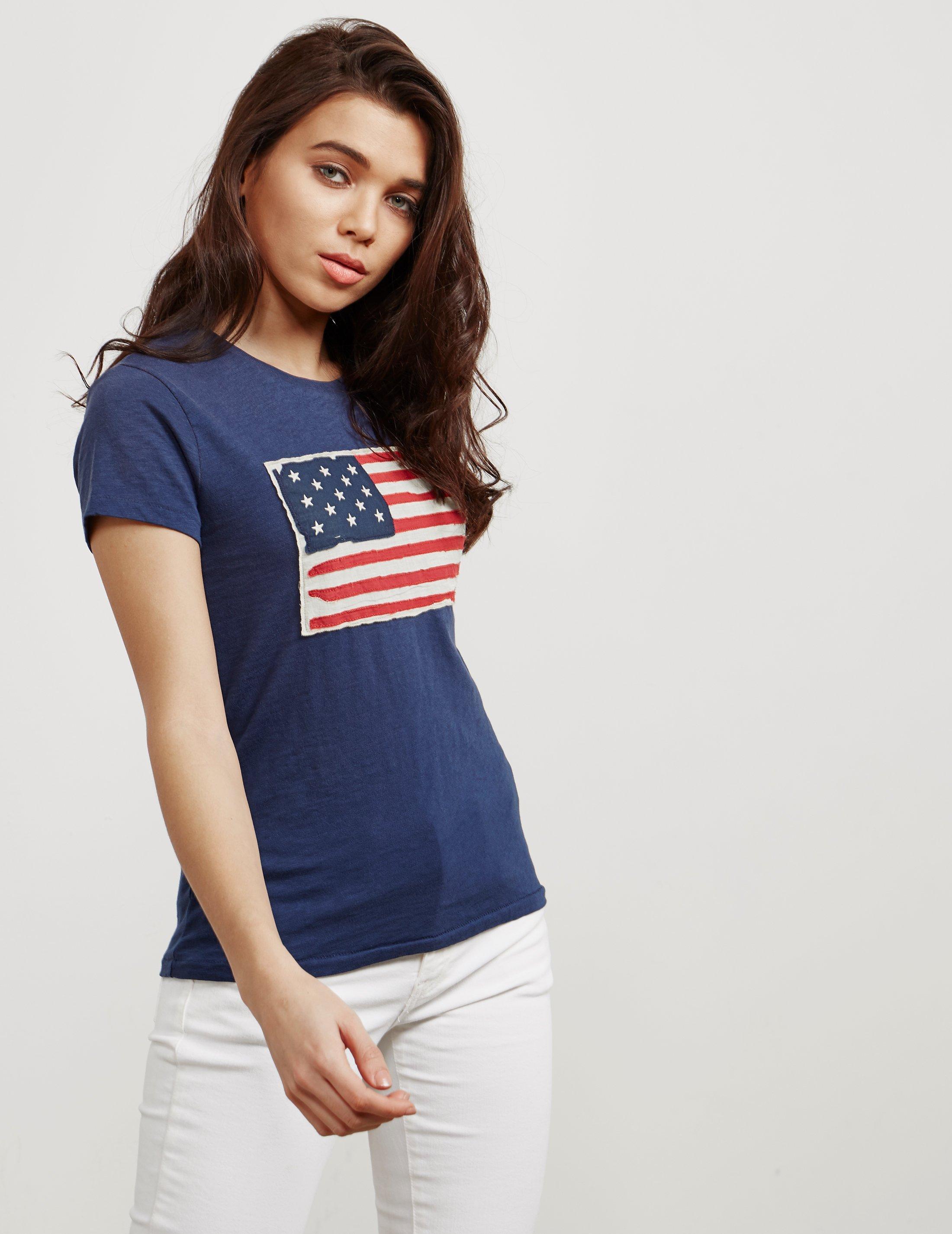 Flag Polo T Short Navy Ralph Blue Lauren Sleeve Shirt UpzSMV