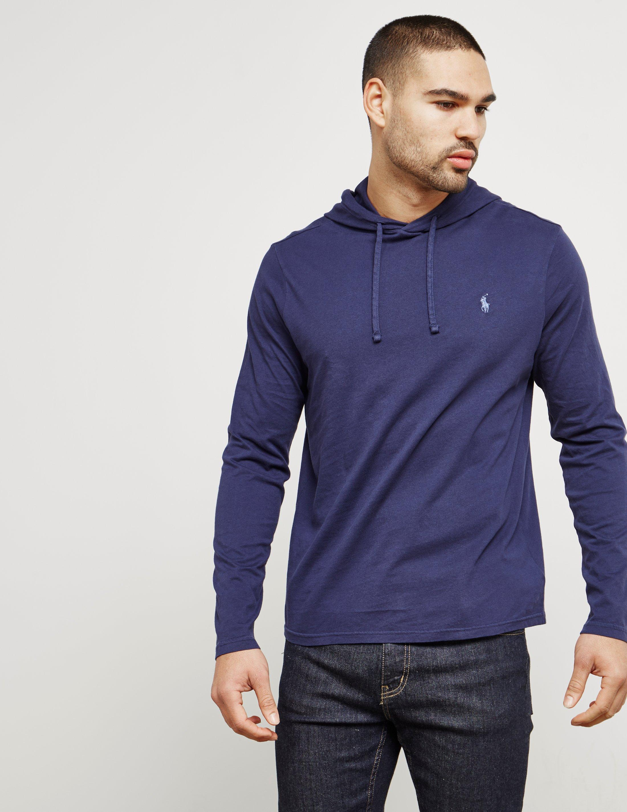 Mens Hooded Long Sleeve T-shirt Navy Blue