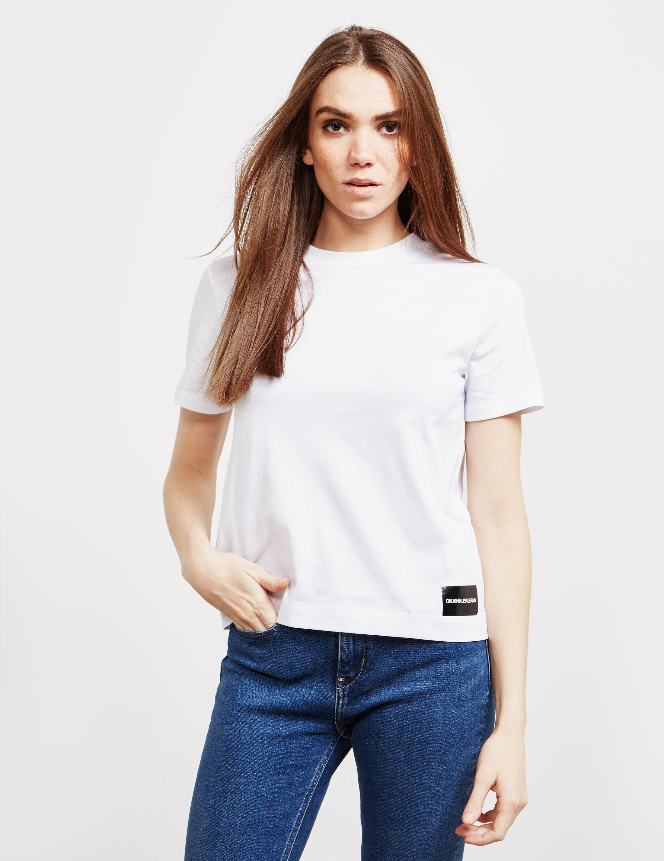 b937d46c3 Lyst - Calvin Klein Womens Core Fit Short Sleeve T-shirt White in White