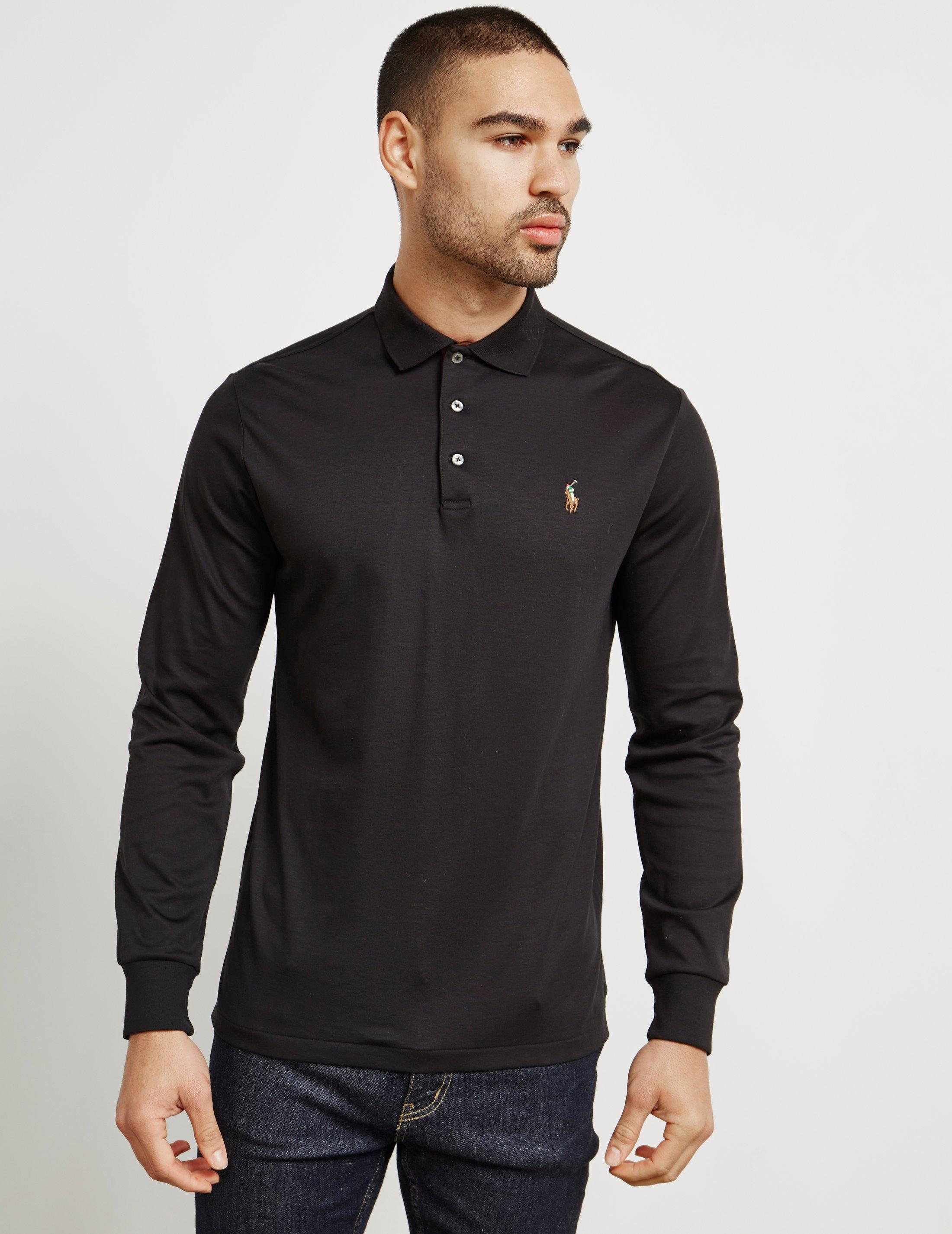 Mens Pima Cotton Long Sleeve Polo Shirt Black