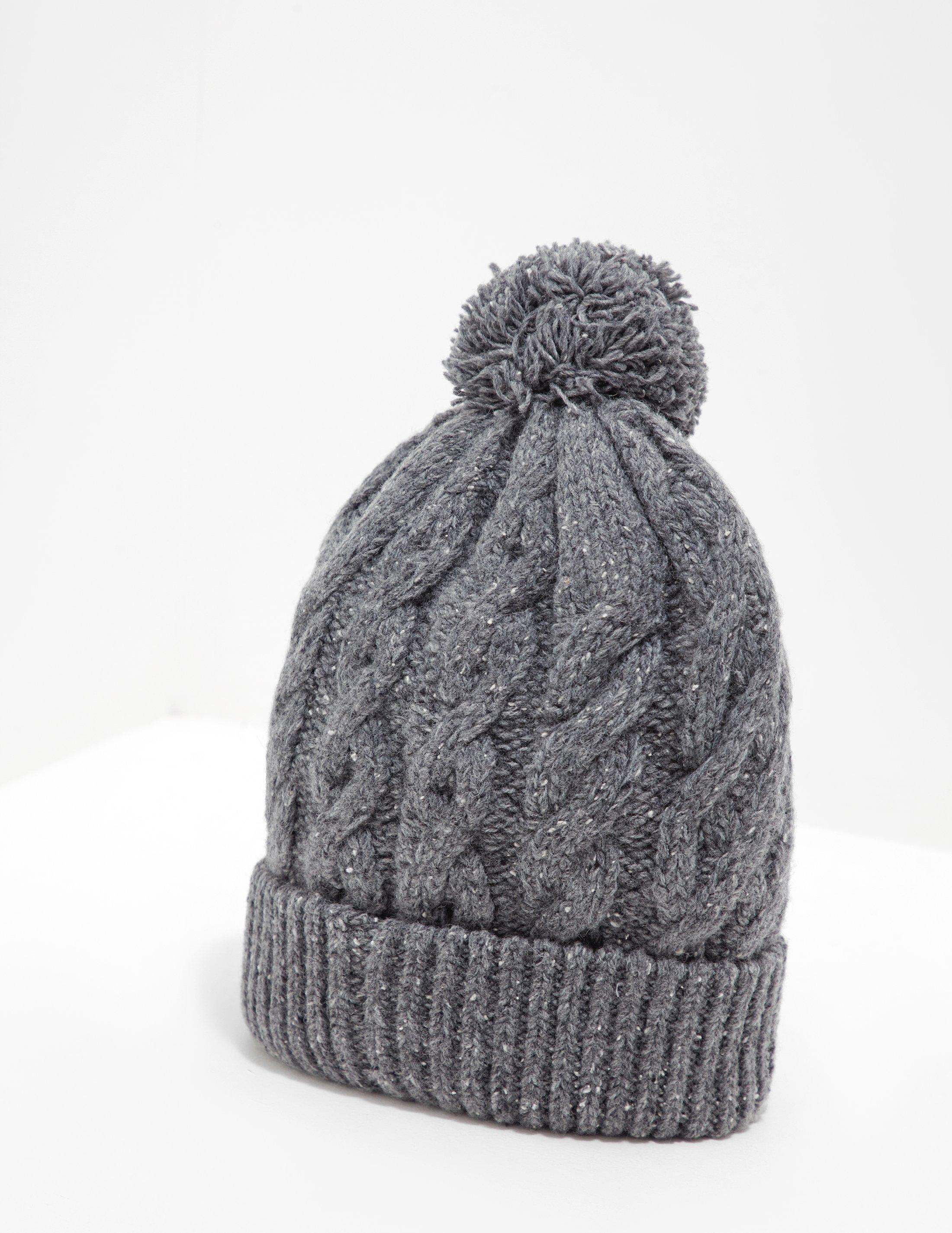 3b74e5dc Barbour Gray Mens International Bobble Hat - Exclusively To Tessuti Grey  for men
