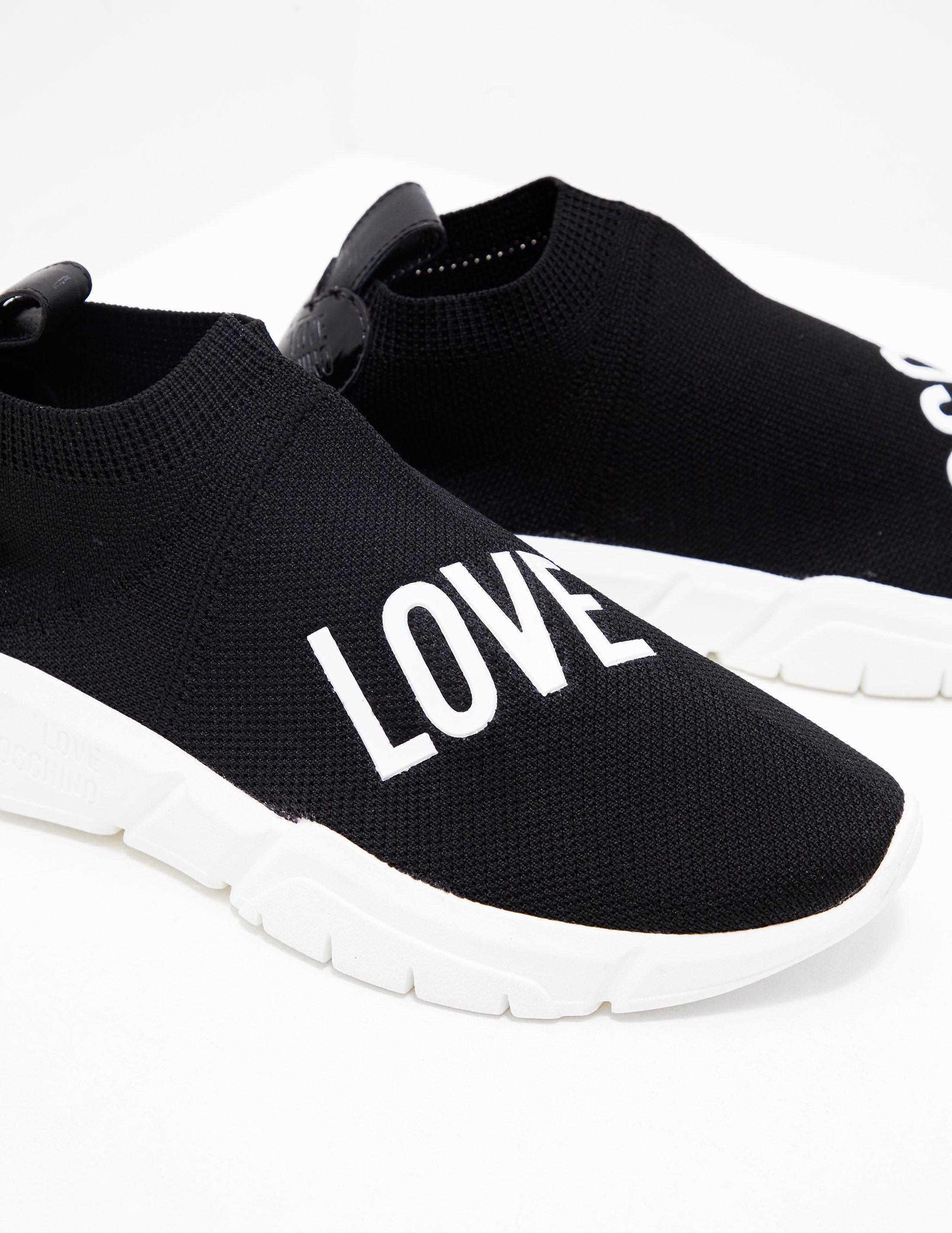 d6fce5f98b86c Love Moschino Womens Logo Sock Trainer Black