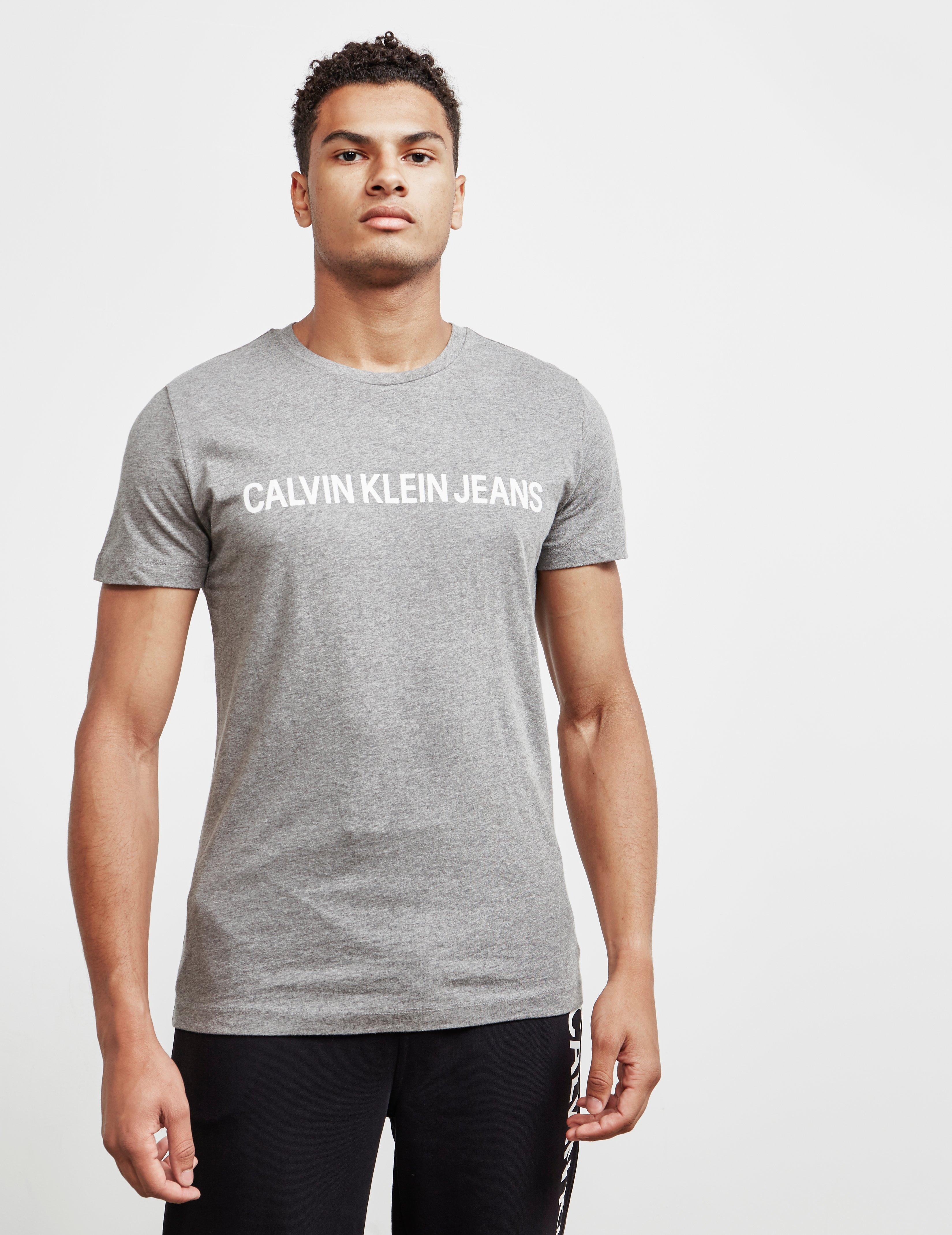 2422fcf00 Calvin Klein Mens Institutional Short Sleeve T-shirt Grey in Gray ...