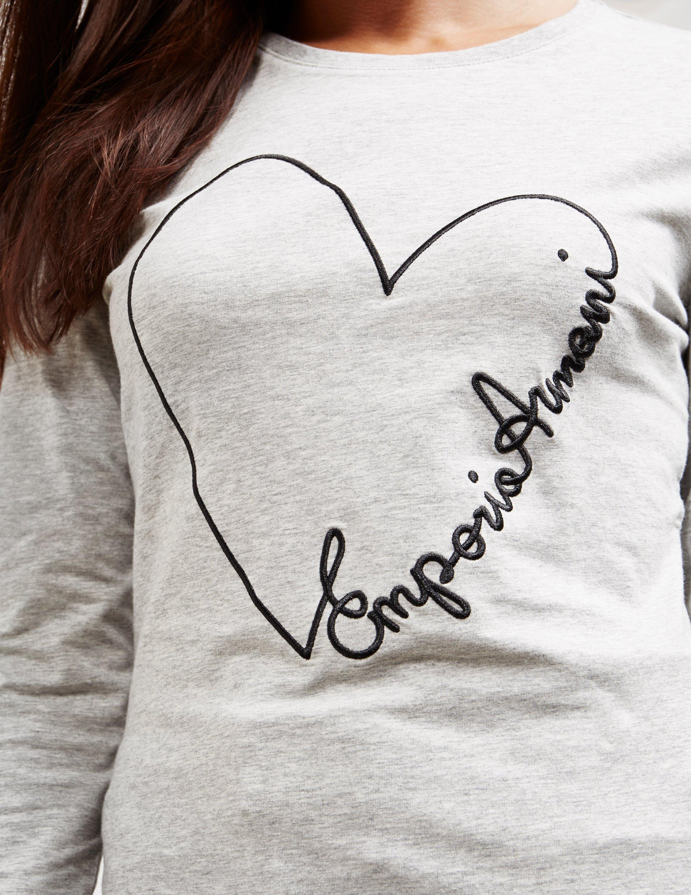 9f061735 Emporio Armani Gray Heart Scribble Long Sleeve T-shirt Grey