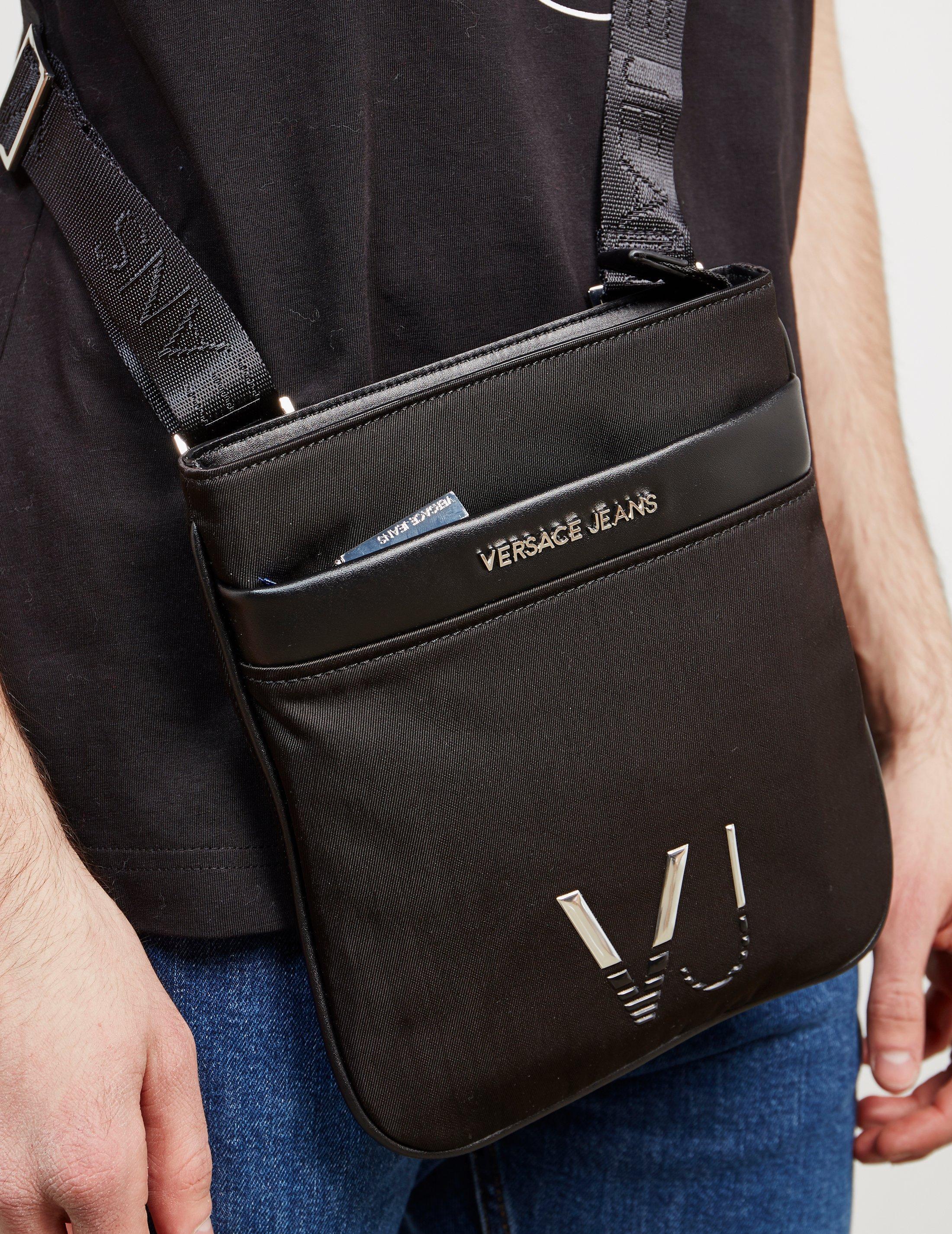 fc3403d386 Versace Jeans Mens Linea Logo Small Item Bag Black in Black for Men ...