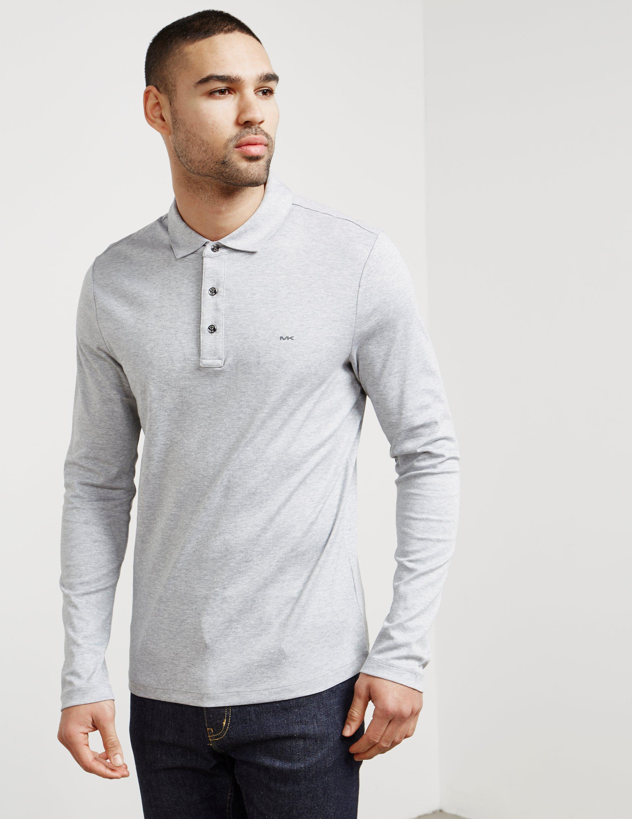 2899b481d Michael Kors Mens Sleek Long Sleeve Polo Shirt Grey in Gray for Men ...
