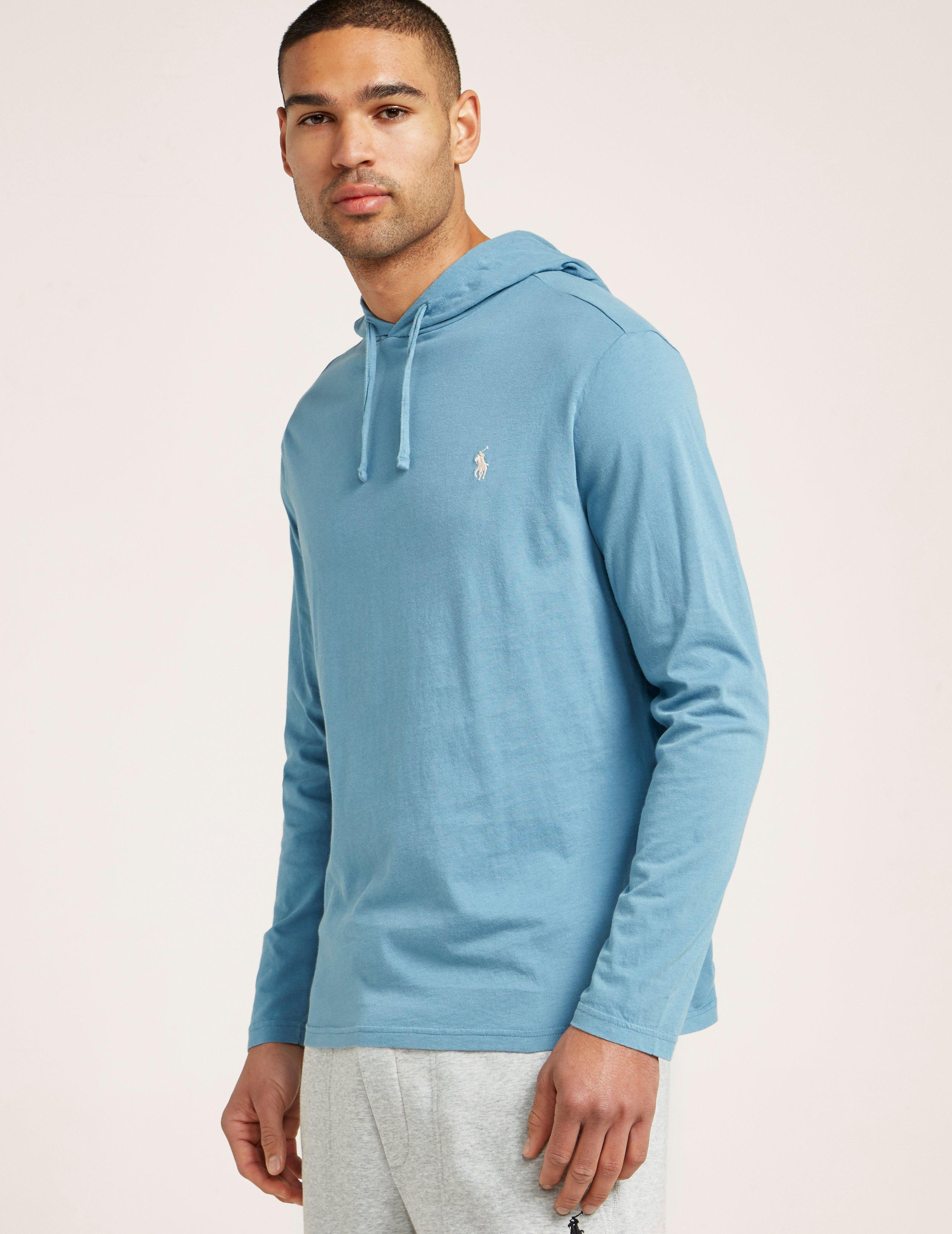 Mens Long Sleeve Hooded T-shirt Blue