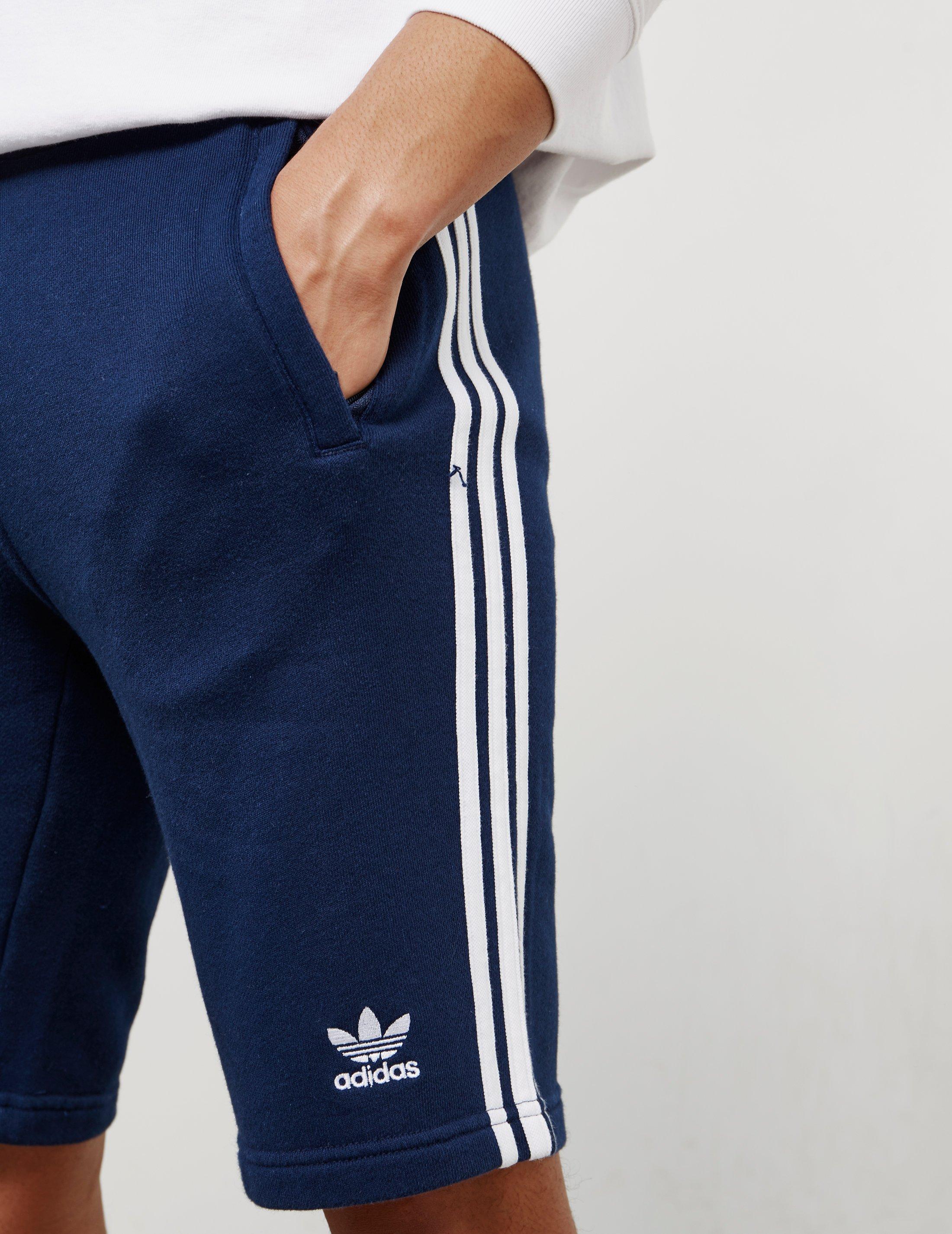 Mens 3 stripes Fleece Shorts Navy Blue
