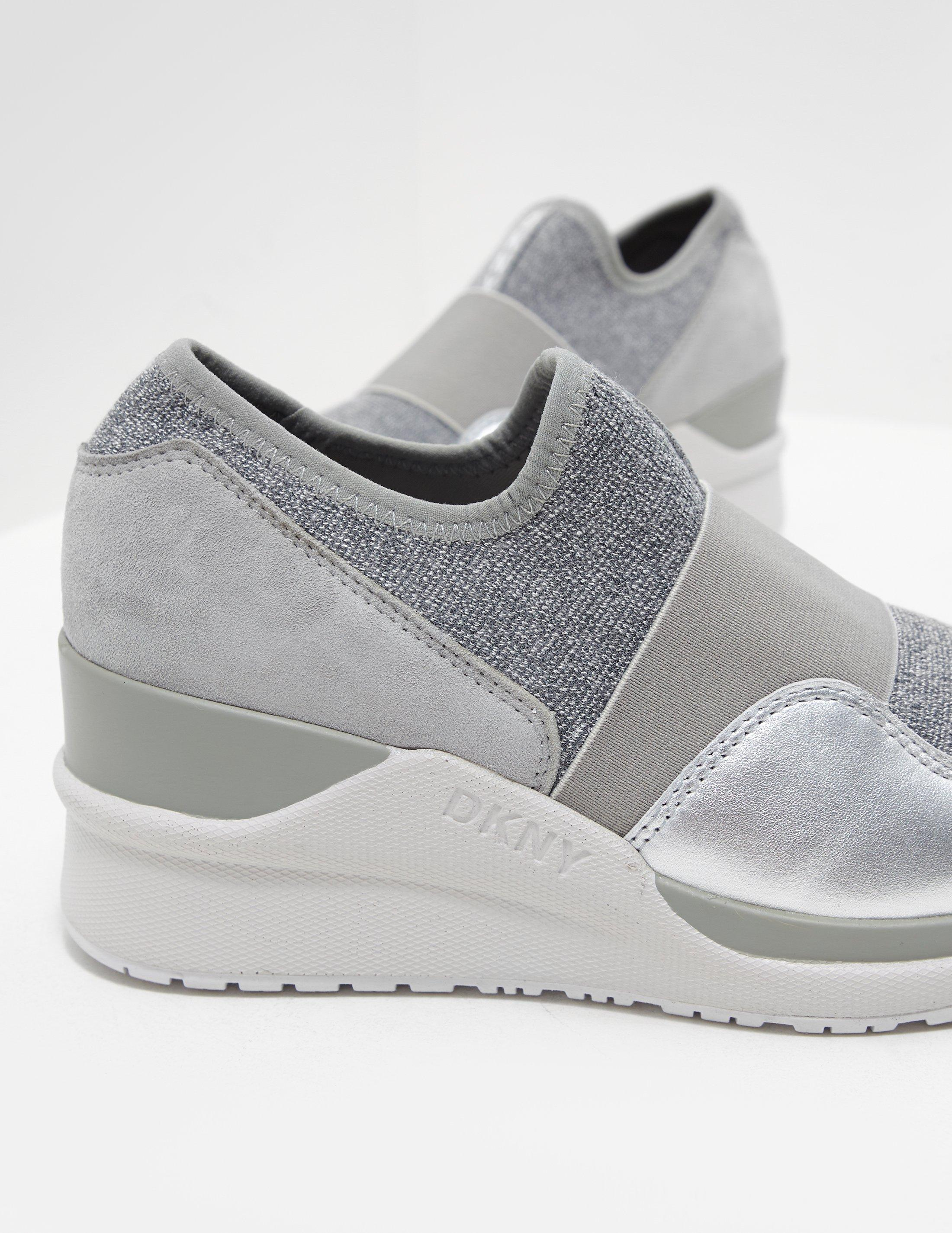 New Womens DKNY Black Amber Slip On Wedge Textile Trainers Sock