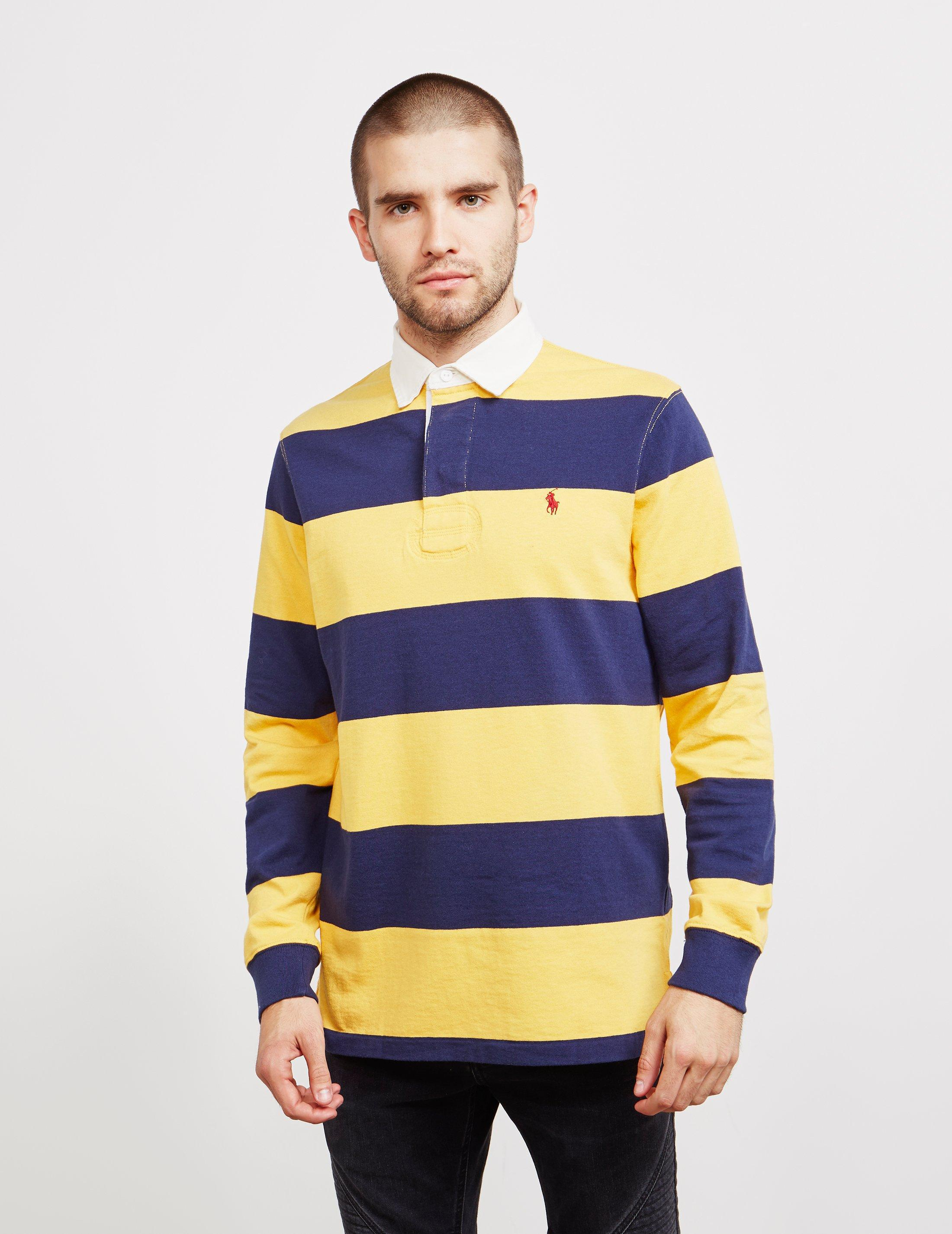 1f5ce69db60a discount polo ralph lauren. mens stripe rugby long sleeve polo shirt yellow  fb875 54aaa