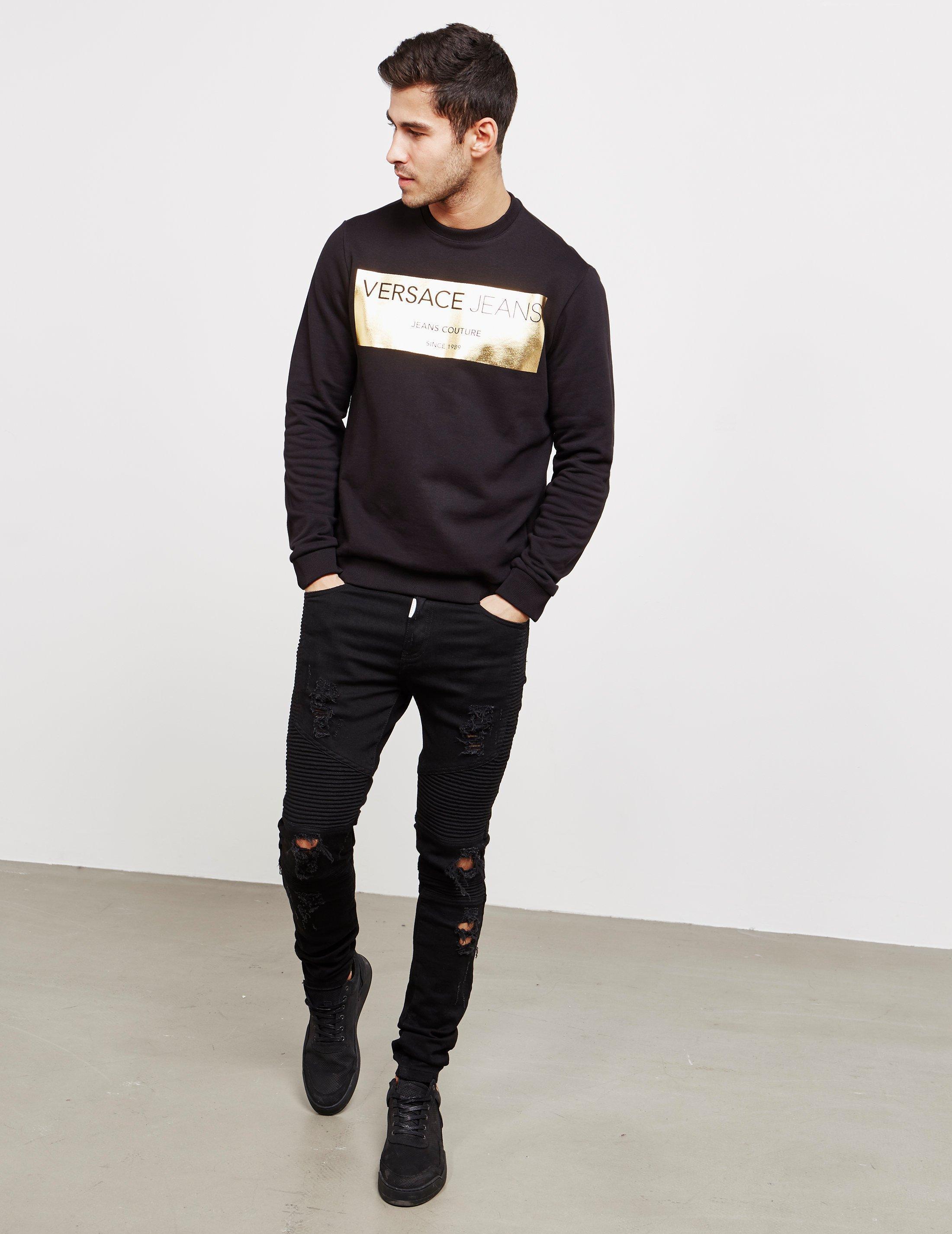 Versace Jeans Couture Denim Foil Square Sweatshirt Black for Men