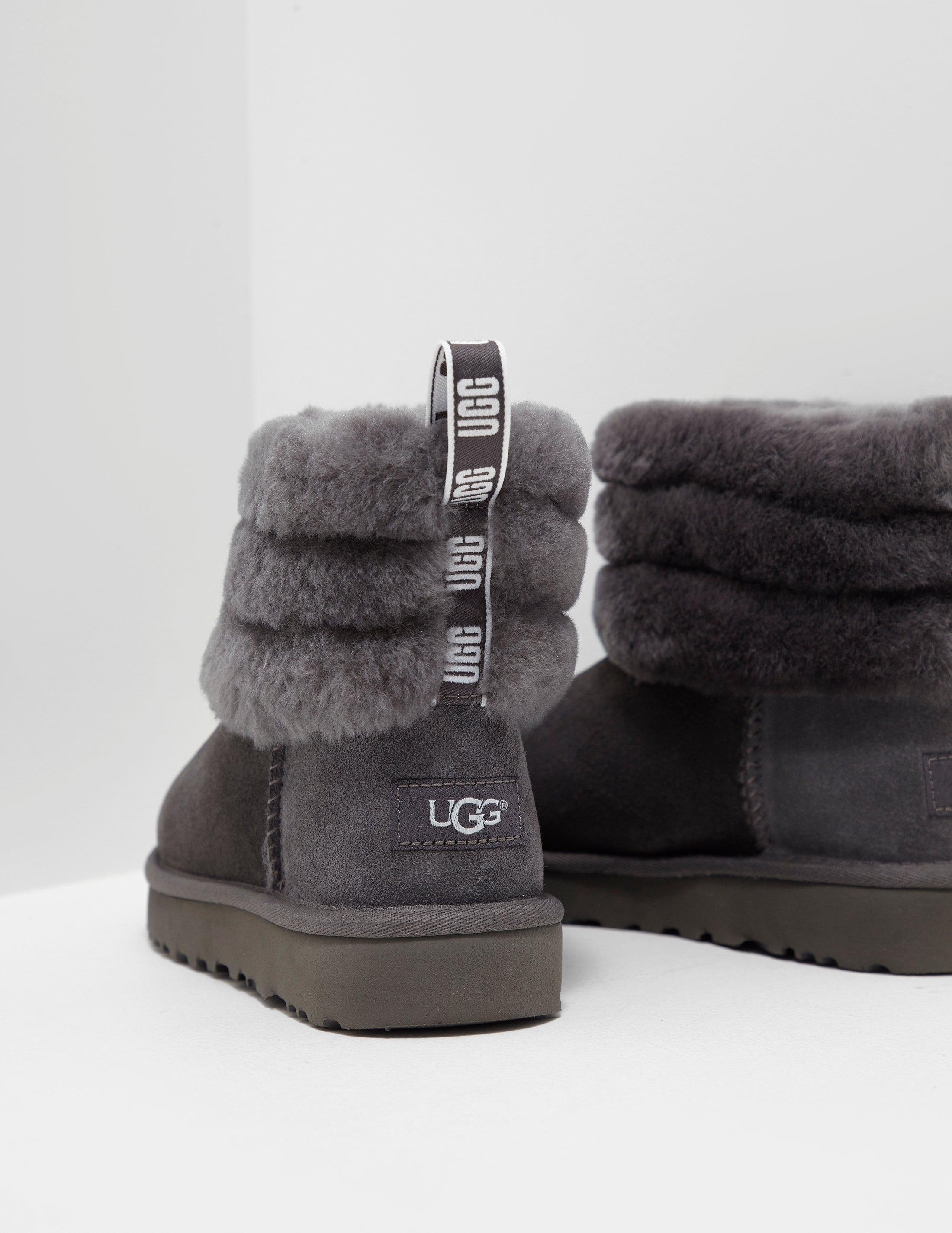 45f4cb2a898 Ugg Gray Womens Fluff Mini Quilted Logo Boots Women's Grey