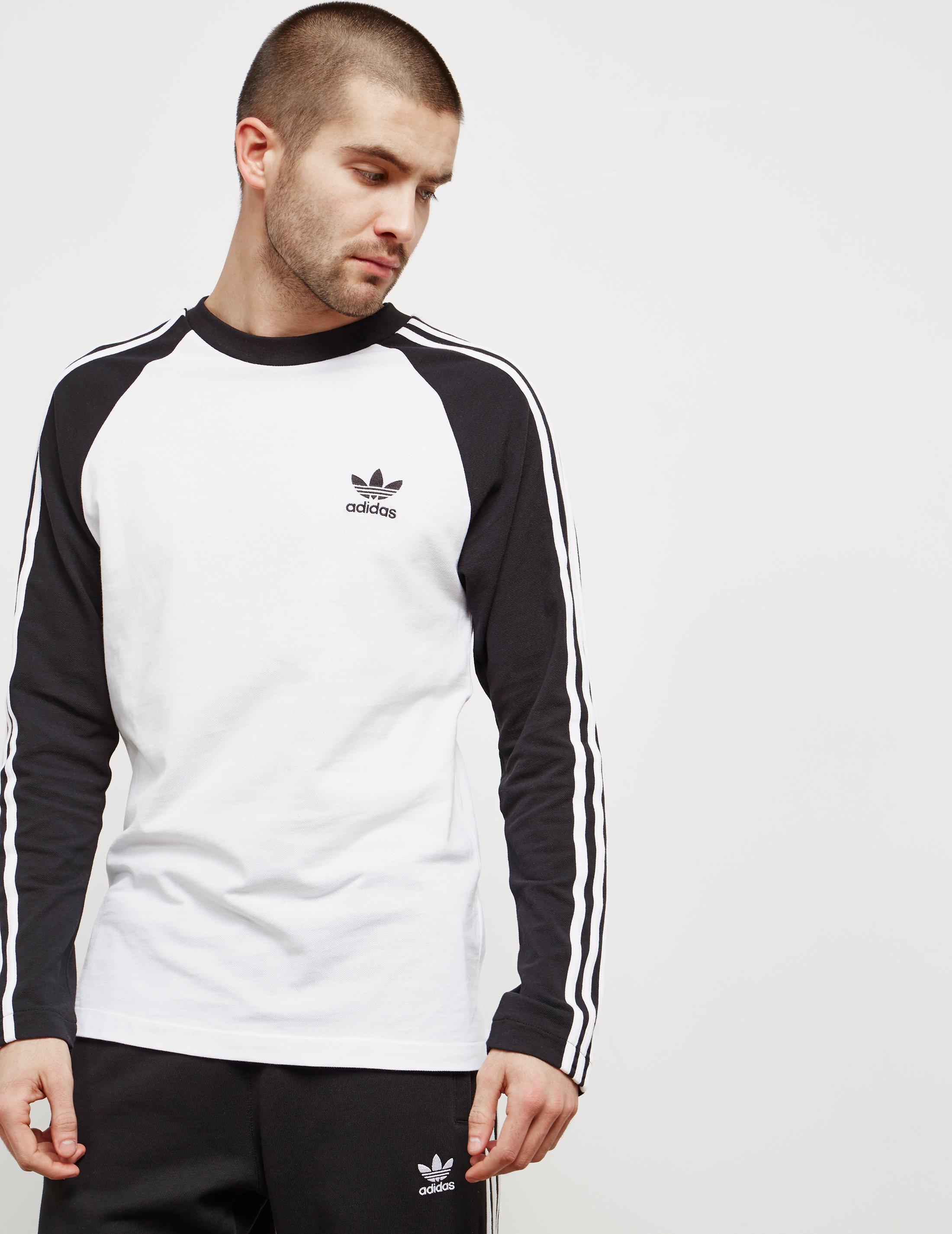 adidas Originals Cotton Mens 3-stripe Long Sleeved T-shirt White ...
