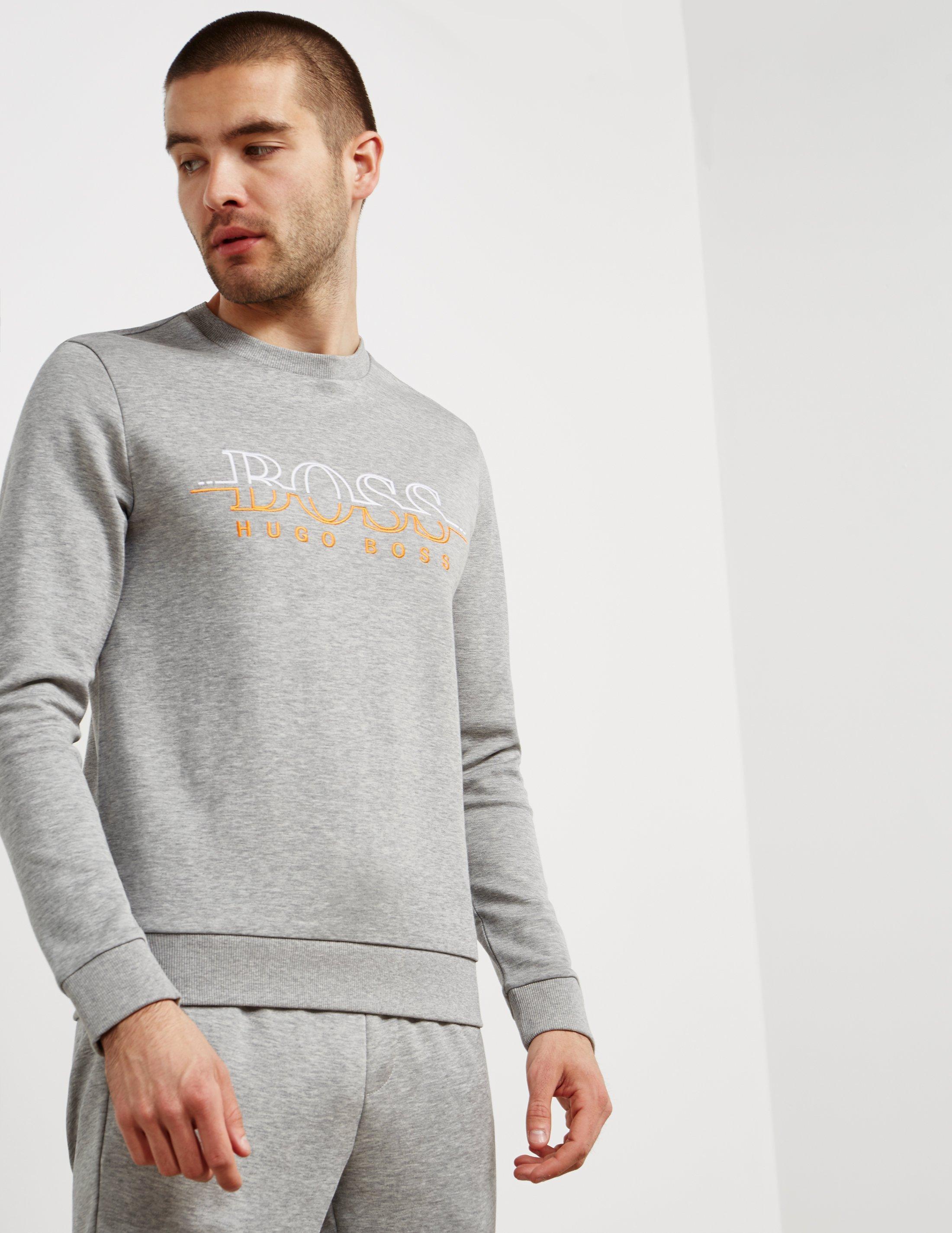 99fe8a249 Lyst - BOSS Salbo Crew Neck Sweatshirt Grey in Gray for Men - Save 50%