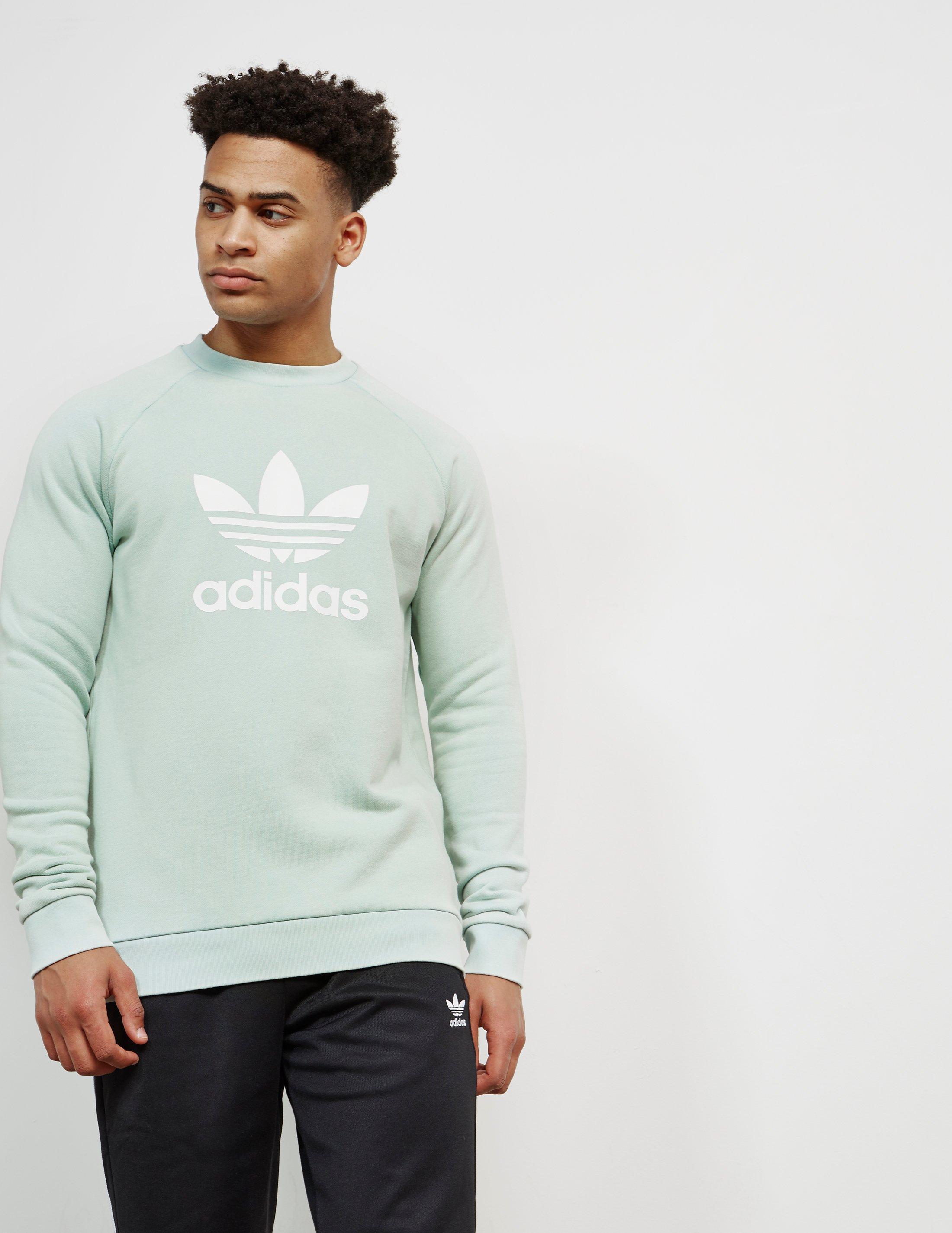 adidas Originals Cotton Mens Trefoil Crew Sweatshirt Green