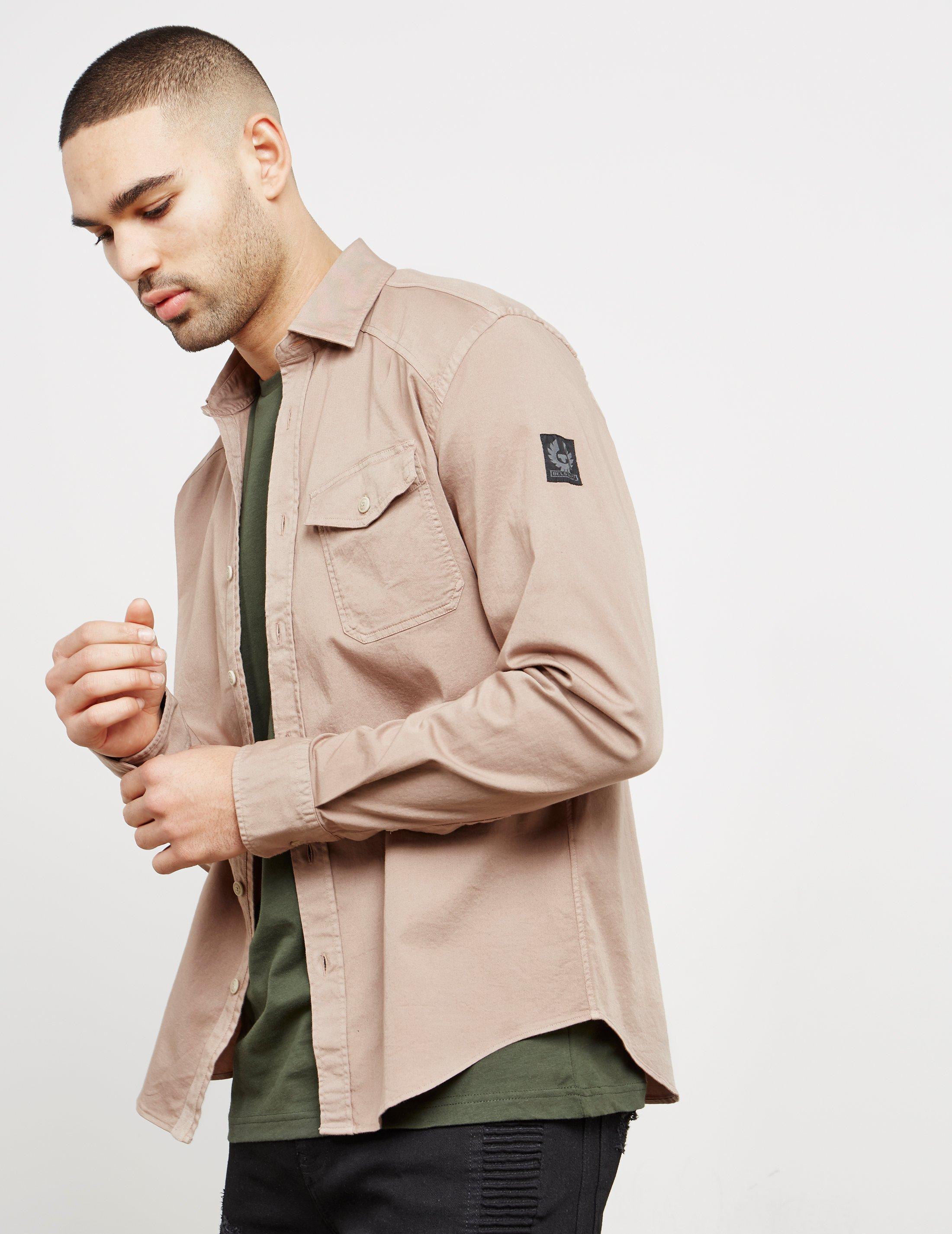 Lyst belstaff mens steadway long sleeve shirt pink pink for Mens pink long sleeve shirt