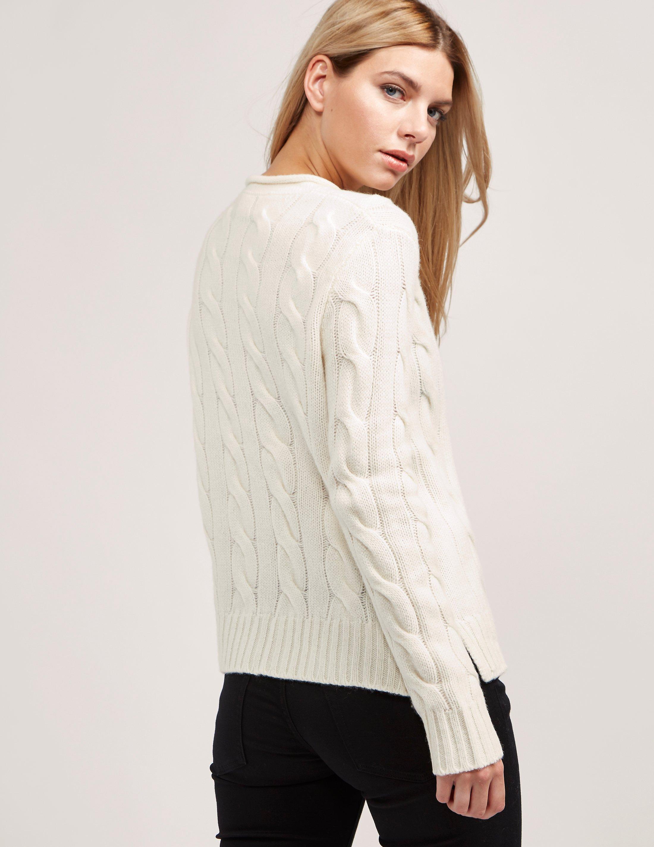 Polo Ralph Lauren - Natural Womens Boxy Roll Neck Knitted Jumper Cream -  Lyst. View fullscreen