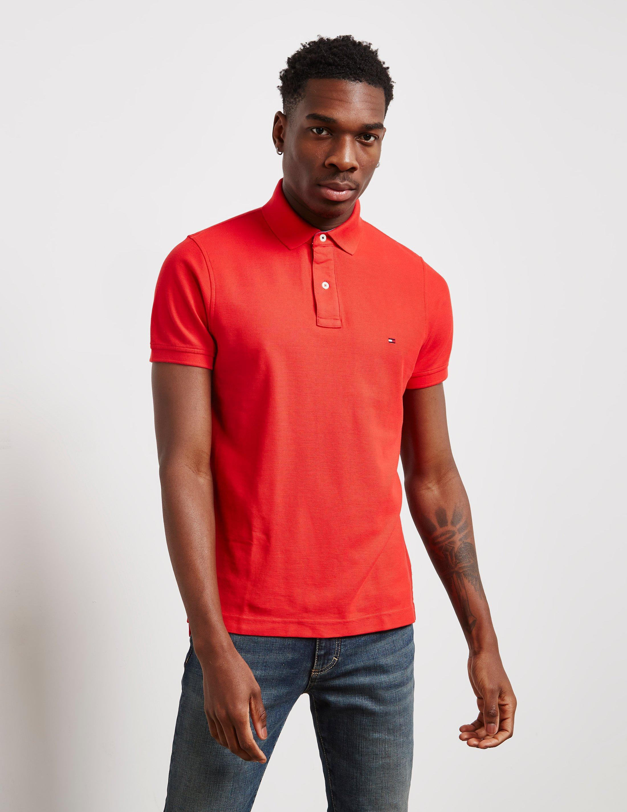 a3d69482 Lyst - Tommy Hilfiger Mens Core Short Sleeve Slim Polo Shirt Red in ...