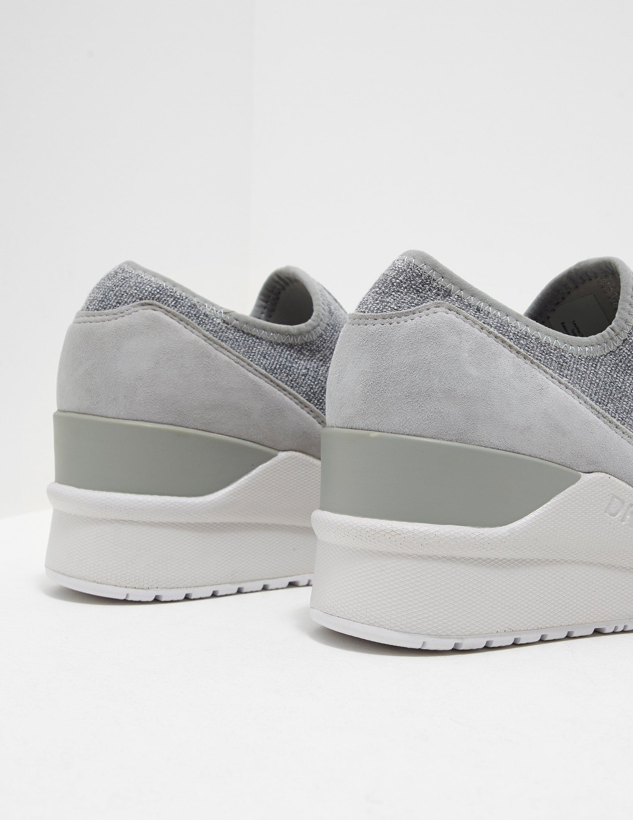 DKNY Suede Leigh Wedge Trainer Grey in