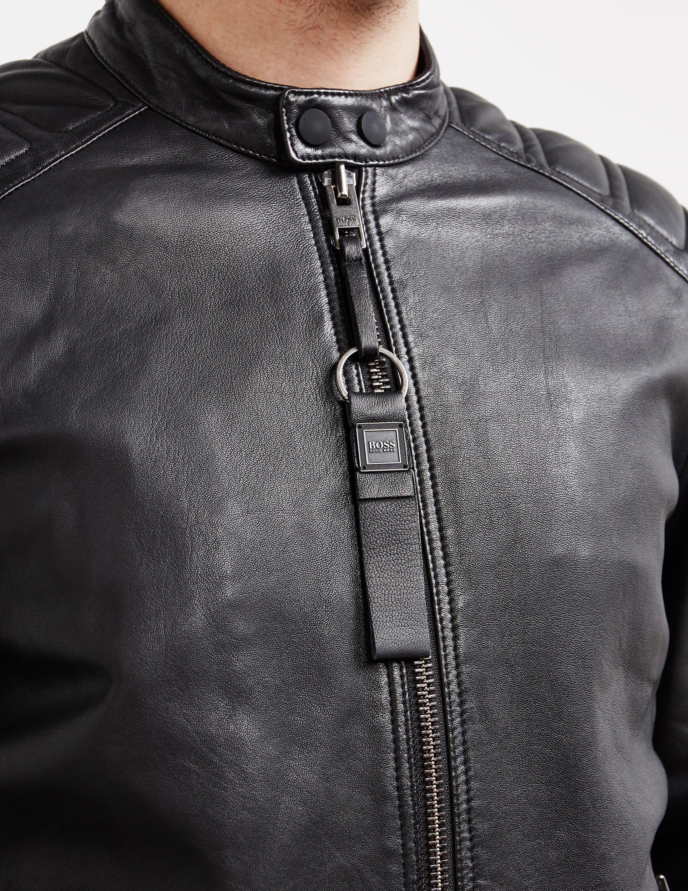 boss men's leather jacket sale
