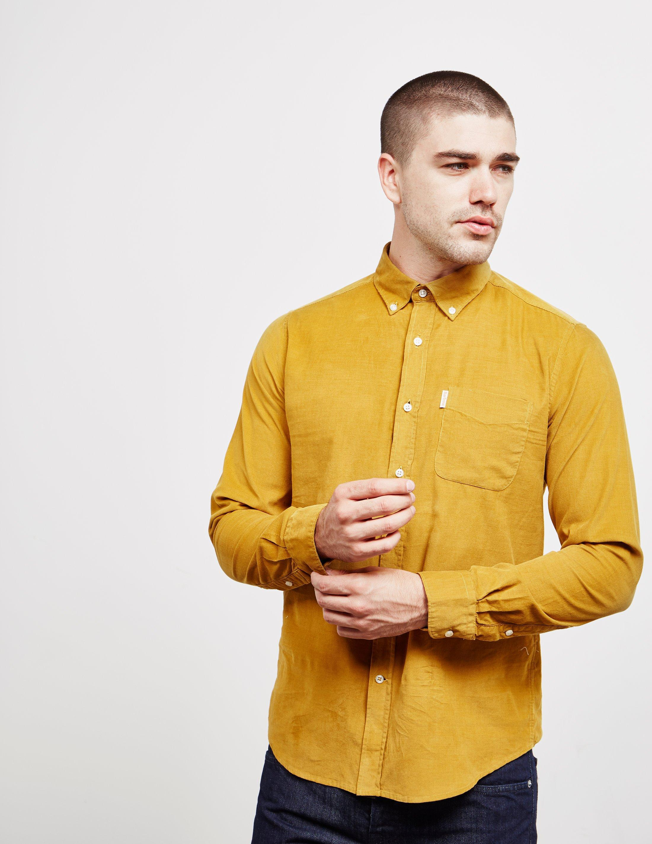 Lyst Barbour Mens Cord Long Sleeve Shirt Yellow In Yellow For Men