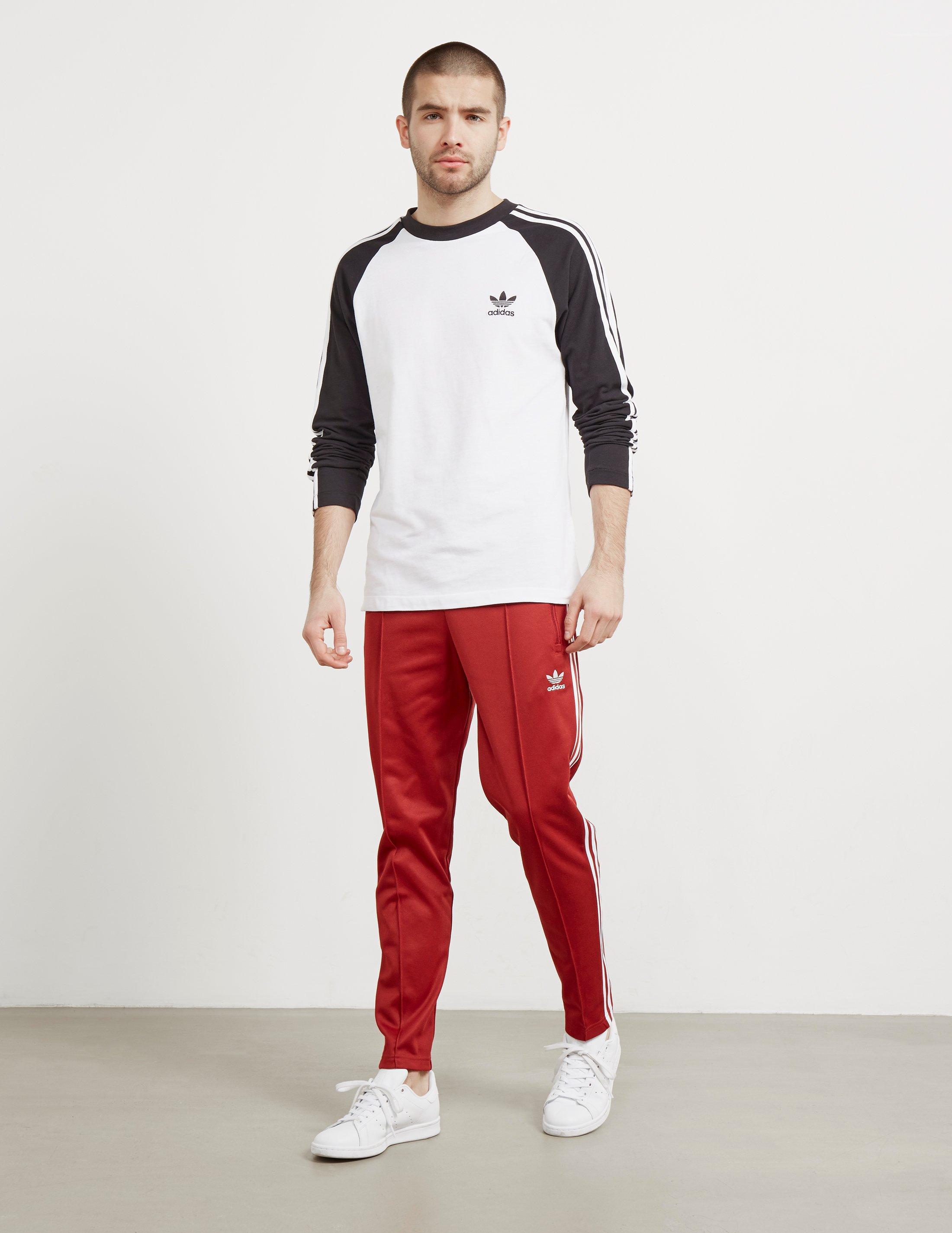 adidas Originals Cotton Mens Beckenbauer Cuffed Track Pants Red ...