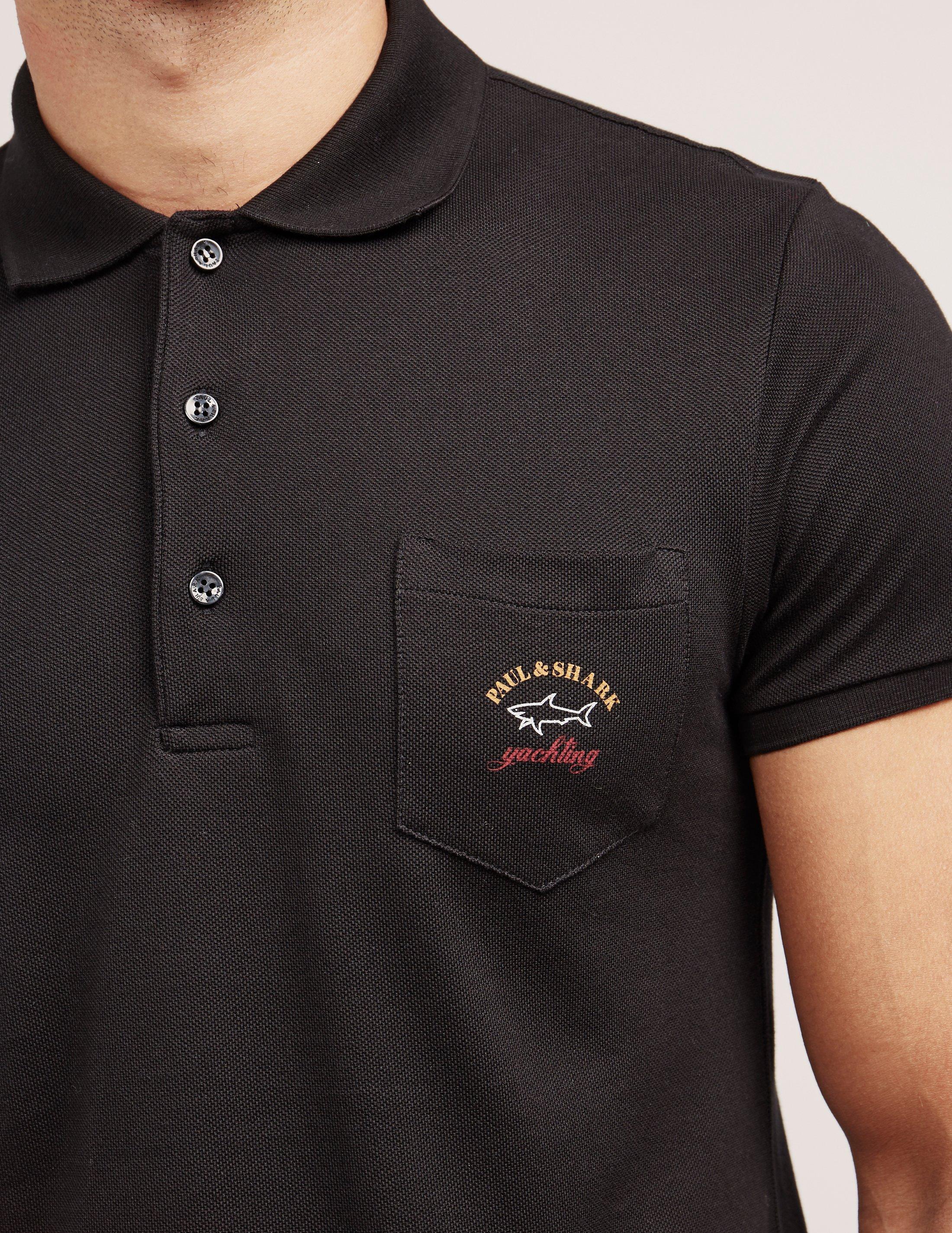 Mens Pocket Short Sleeve Polo Shirt Black