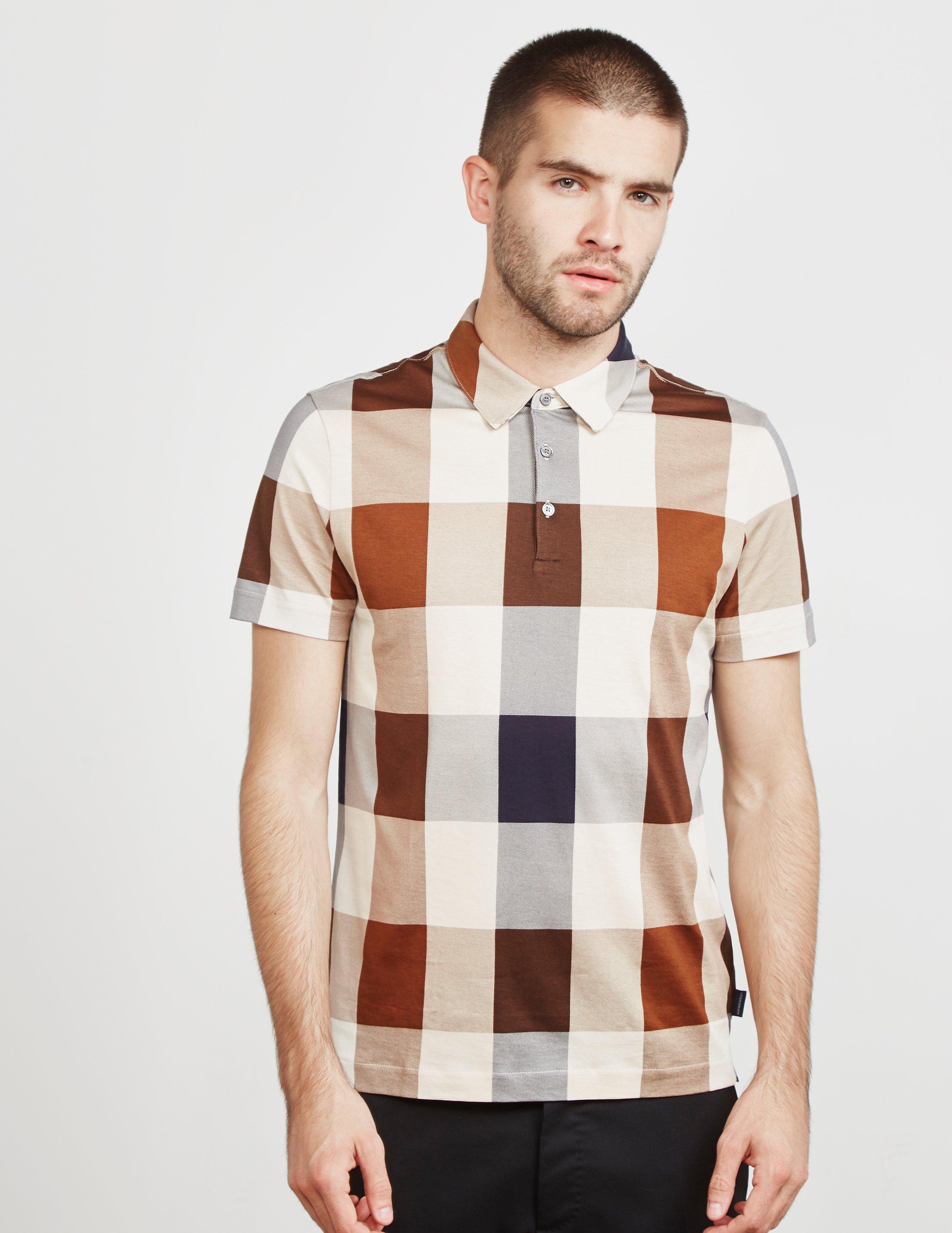 8858d894d Aquascutum Large Club Check Short Sleeve Polo Shirt Brown in Brown ...