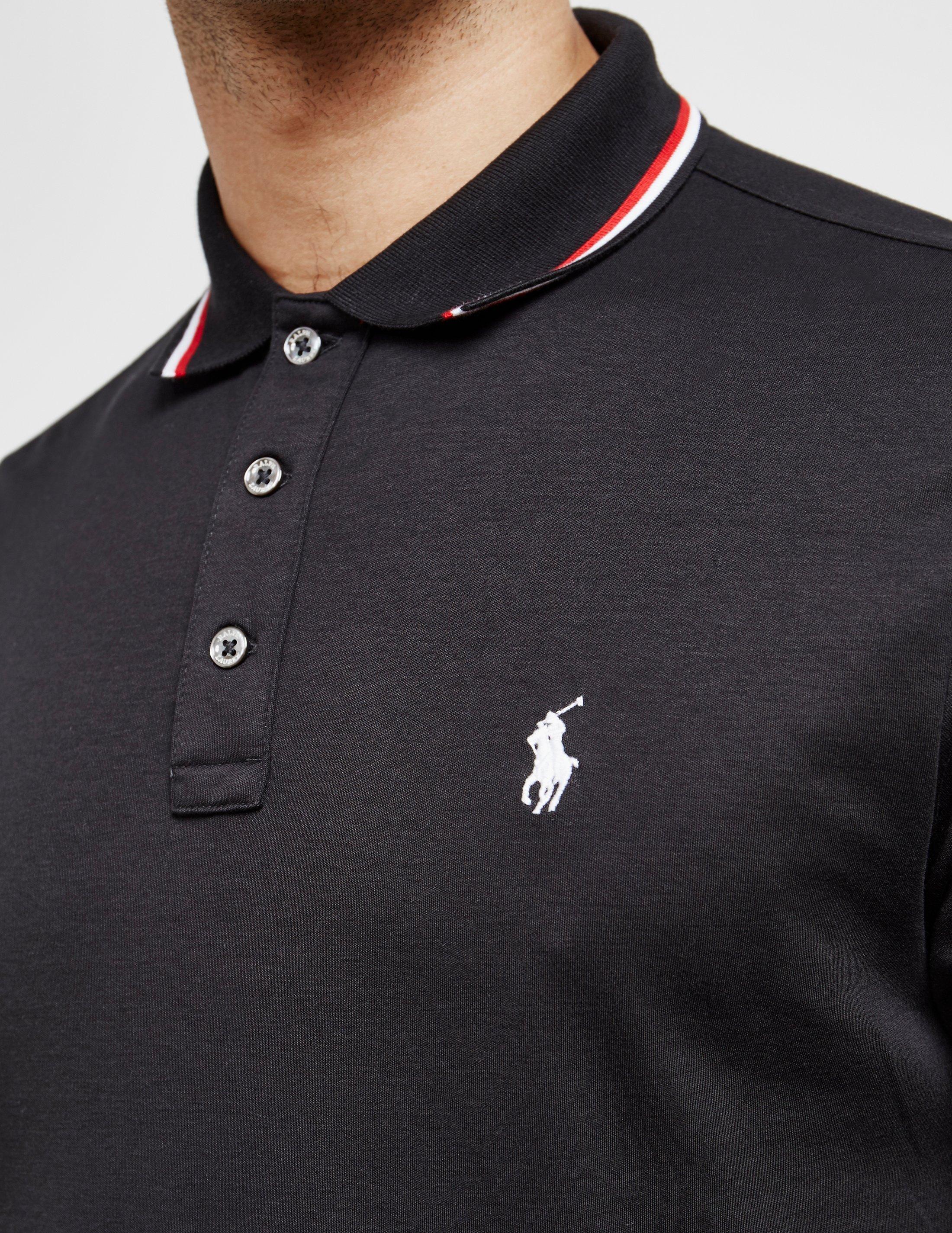 Mens Tipped Long Sleeve Polo Shirt Black