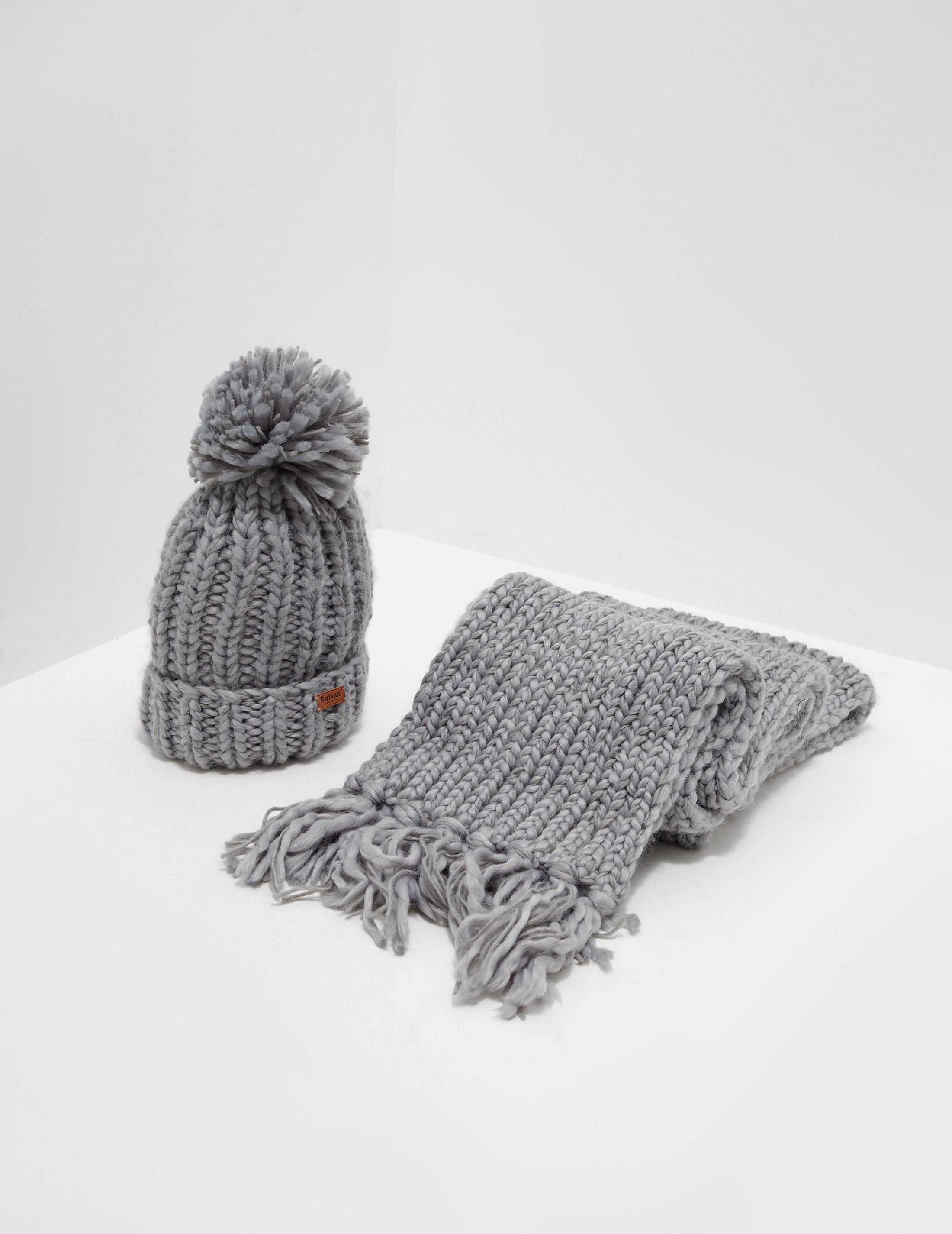 9e1badeccfdf8 Barbour Chunky Hat And Scarf Set Grey in Gray - Save 14% - Lyst
