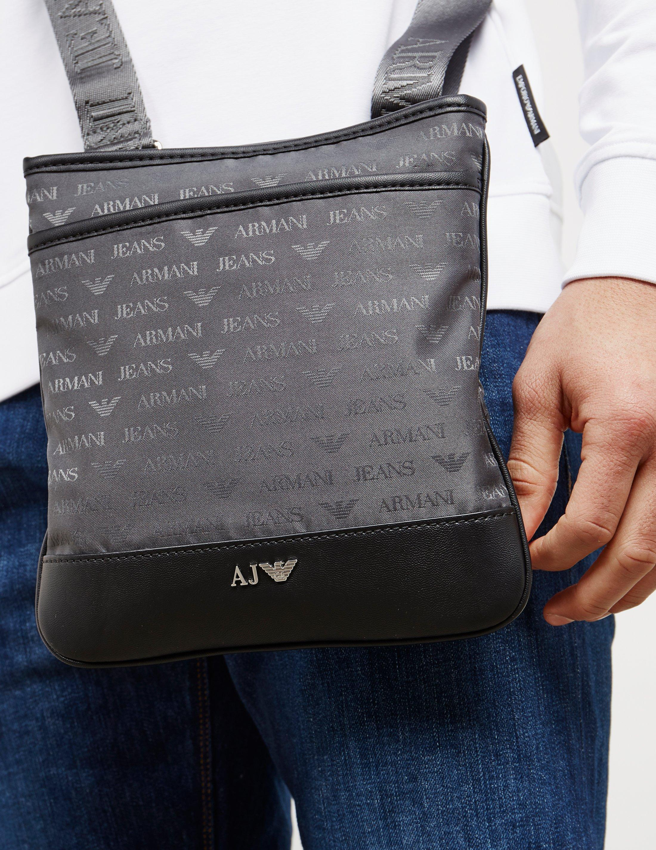Lyst Armani Jeans Mens Nylon Small Item Bag Grey In Gray For Men