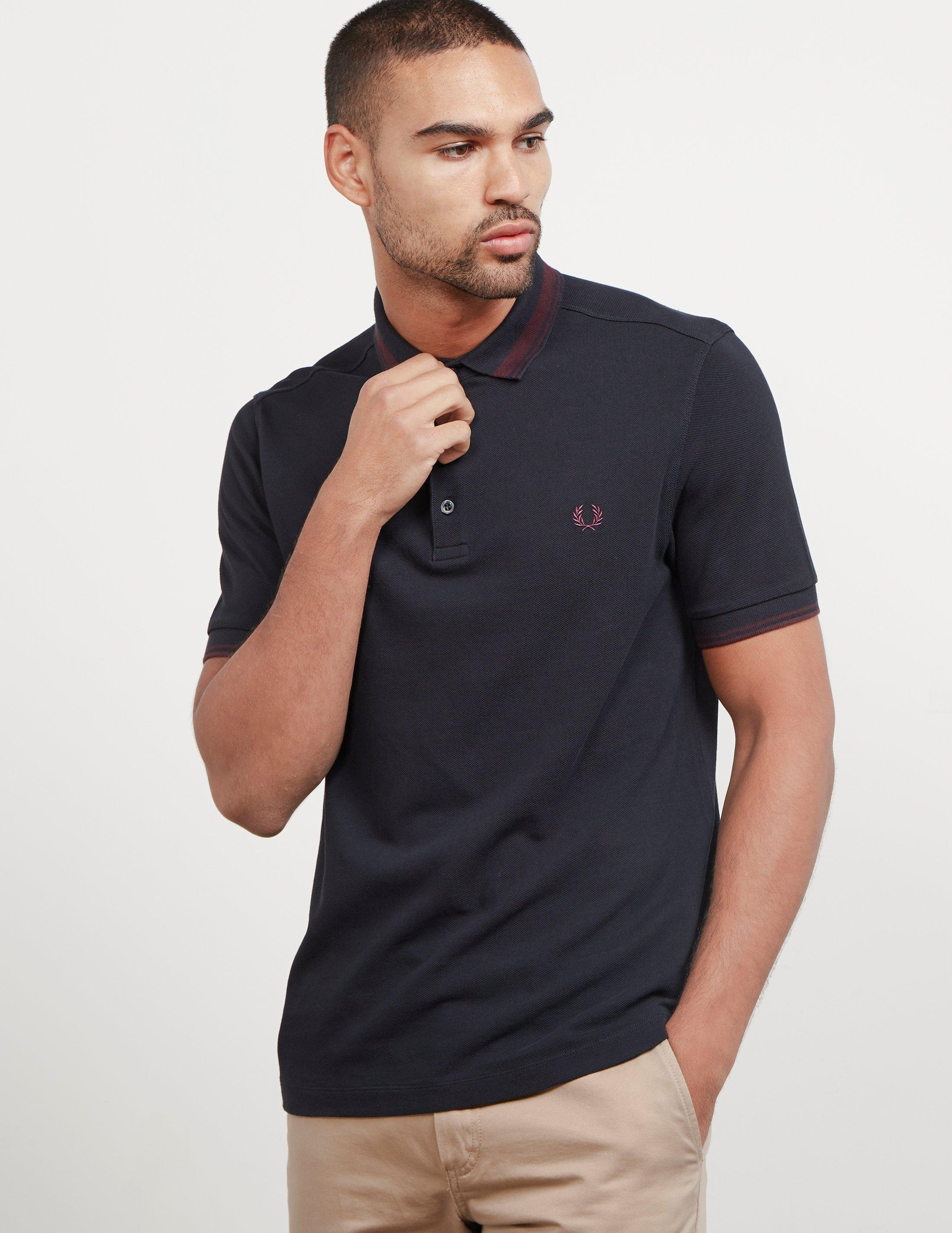 760dc511f7 Fred Perry Mens Contrast Tipped Short Sleeve Polo Shirt Navy Blue in ...