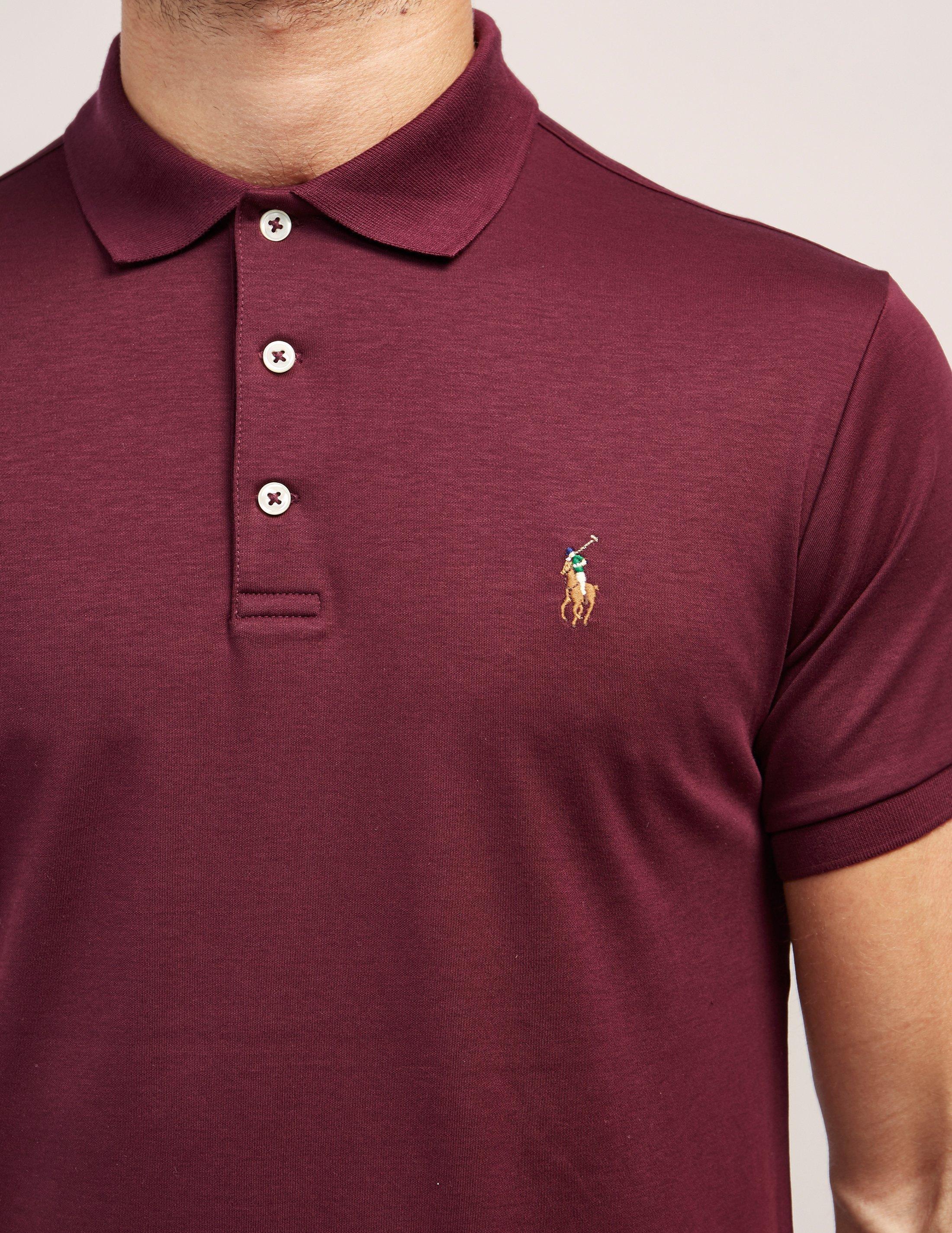 2359aca6 Polo Ralph Lauren Mens Slim Short Sleeve Polo Shirt Burgundy in ...