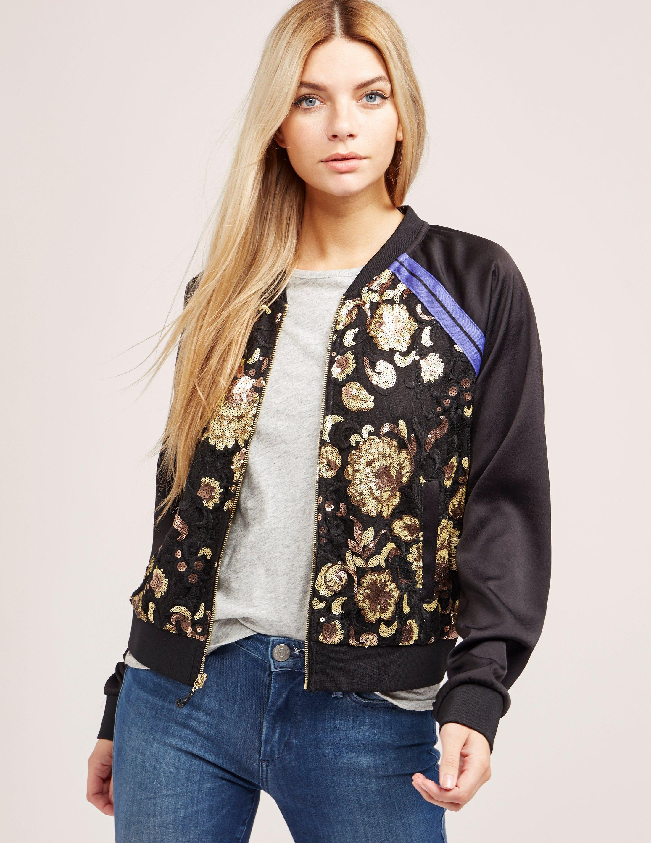 e58a173c0 Juicy Couture Womens Embroidered Bomber Jacket Black