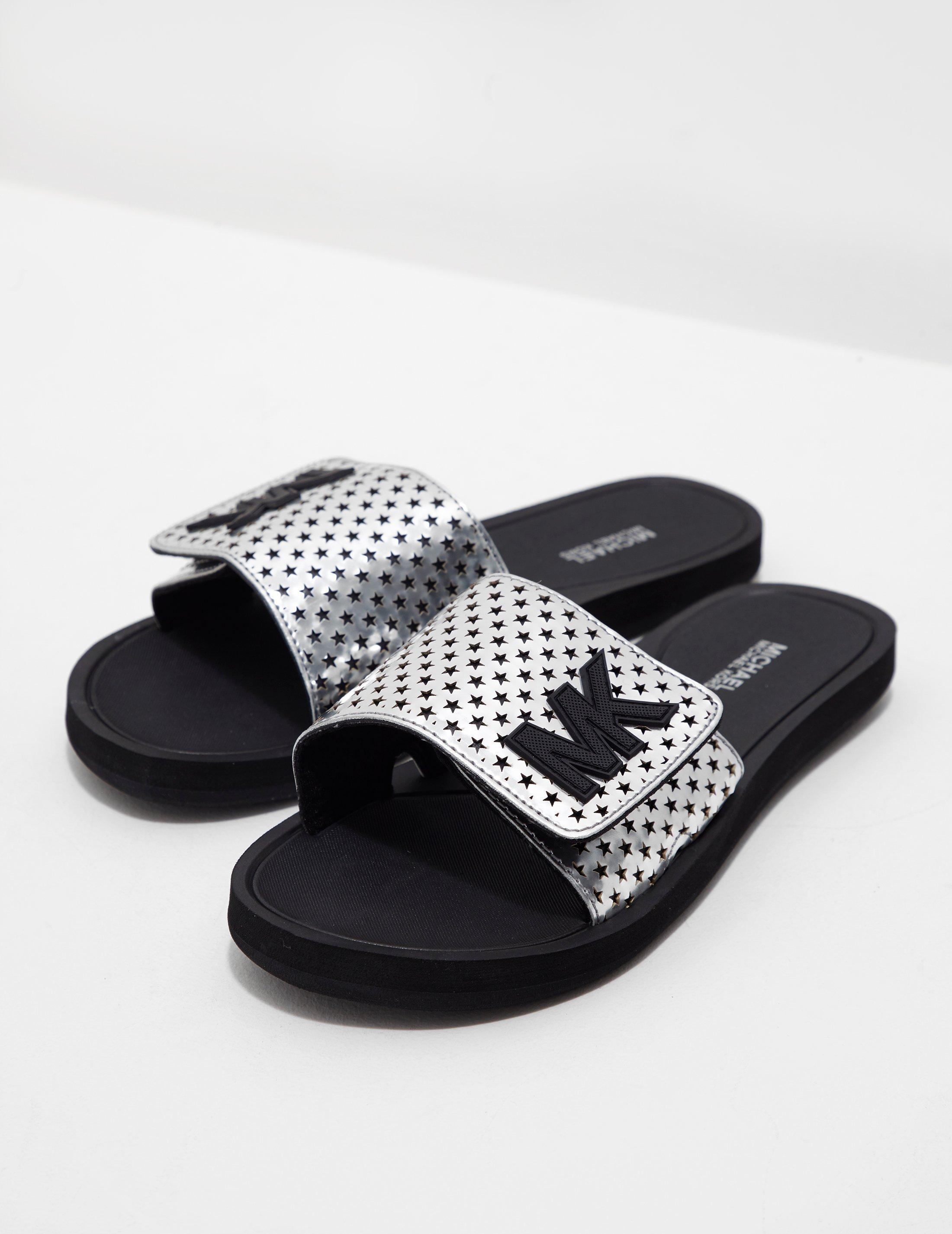 0981a9c93f5d Michael Kors Womens Slides Silver in Metallic - Lyst