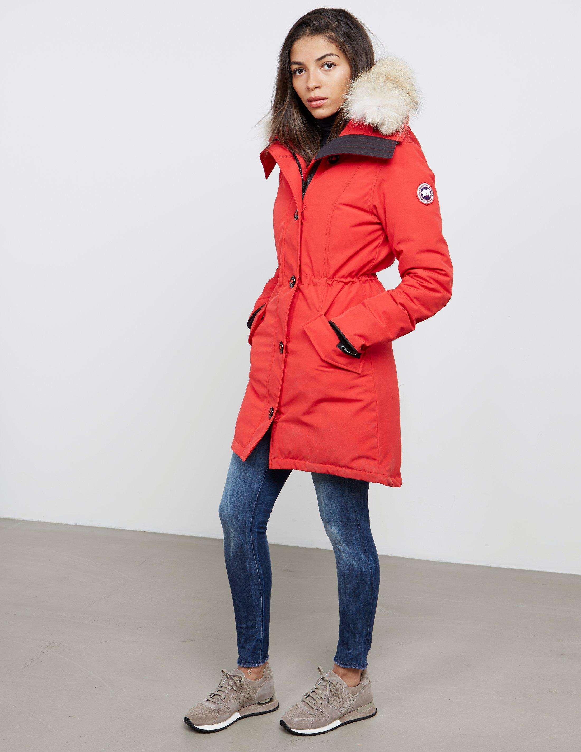 ca9473d58900d ... promo code for lyst canada goose womens rossclair padded parka jacket  red in red save 1.1073253833049392