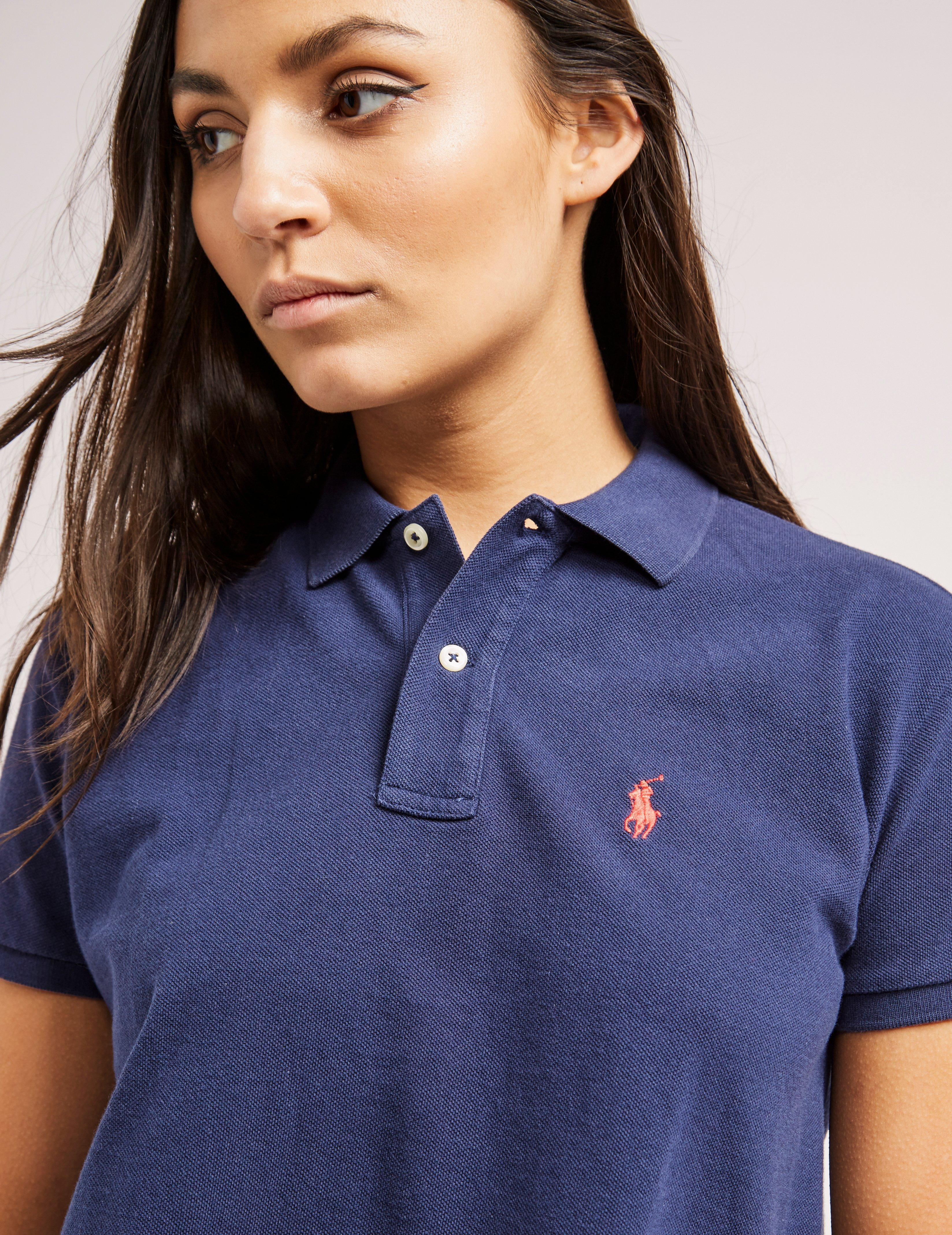 Lyst Polo Ralph Lauren Womens Cropped Polo Shirt Navy Navy In Blue