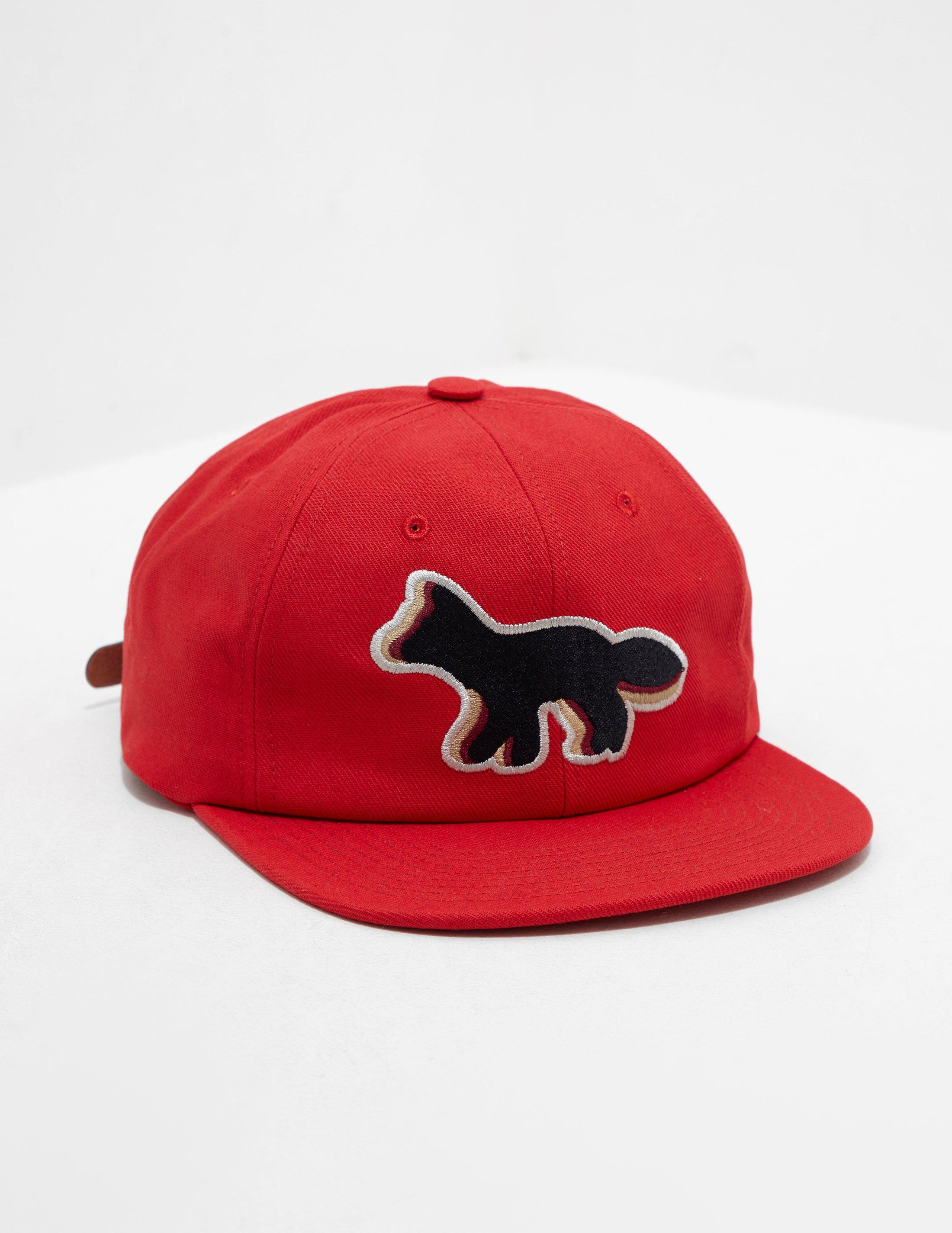 82a685739c1e32 Maison Kitsuné Mens Fox Cap - Online Exclusive Red in Red for Men - Lyst